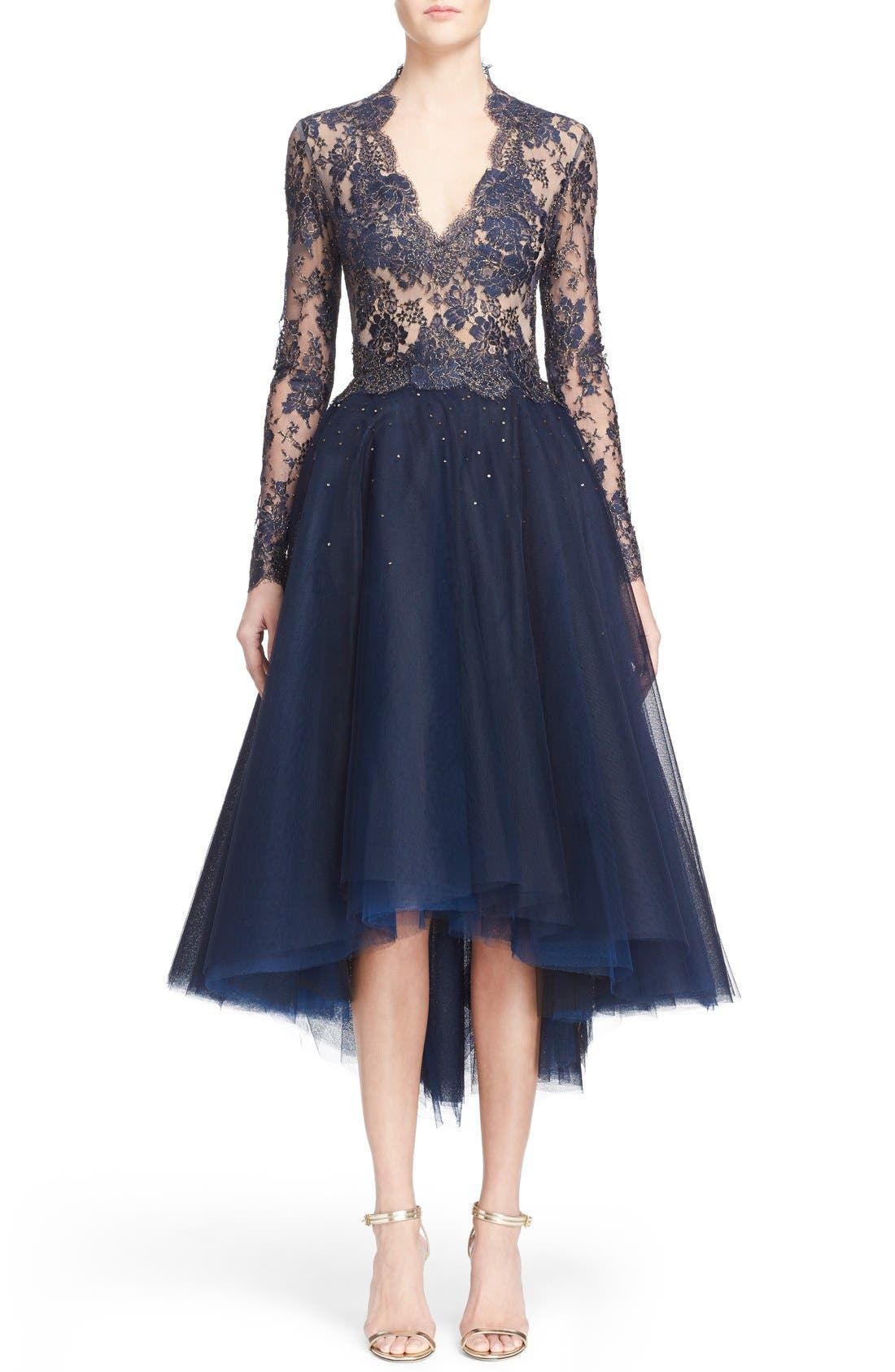 Reem Acra Chantilly Lace & Embellished Tulle High/Low Dress