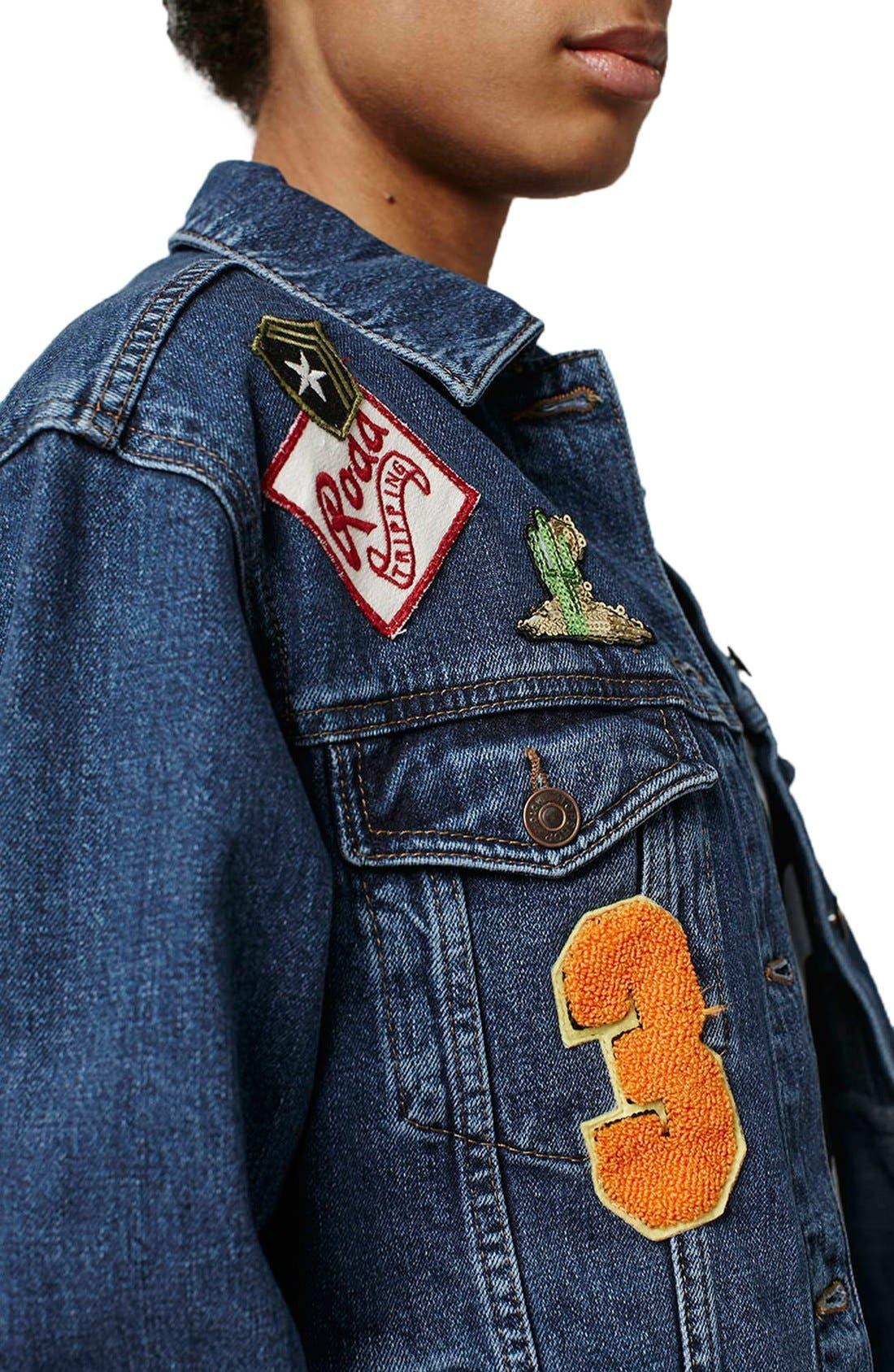 Alternate Image 5  - Topshop Patch Oversize Denim Jacket