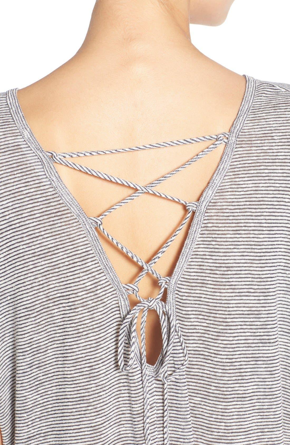Alternate Image 4  - Lush Cross Back Stripe Tee