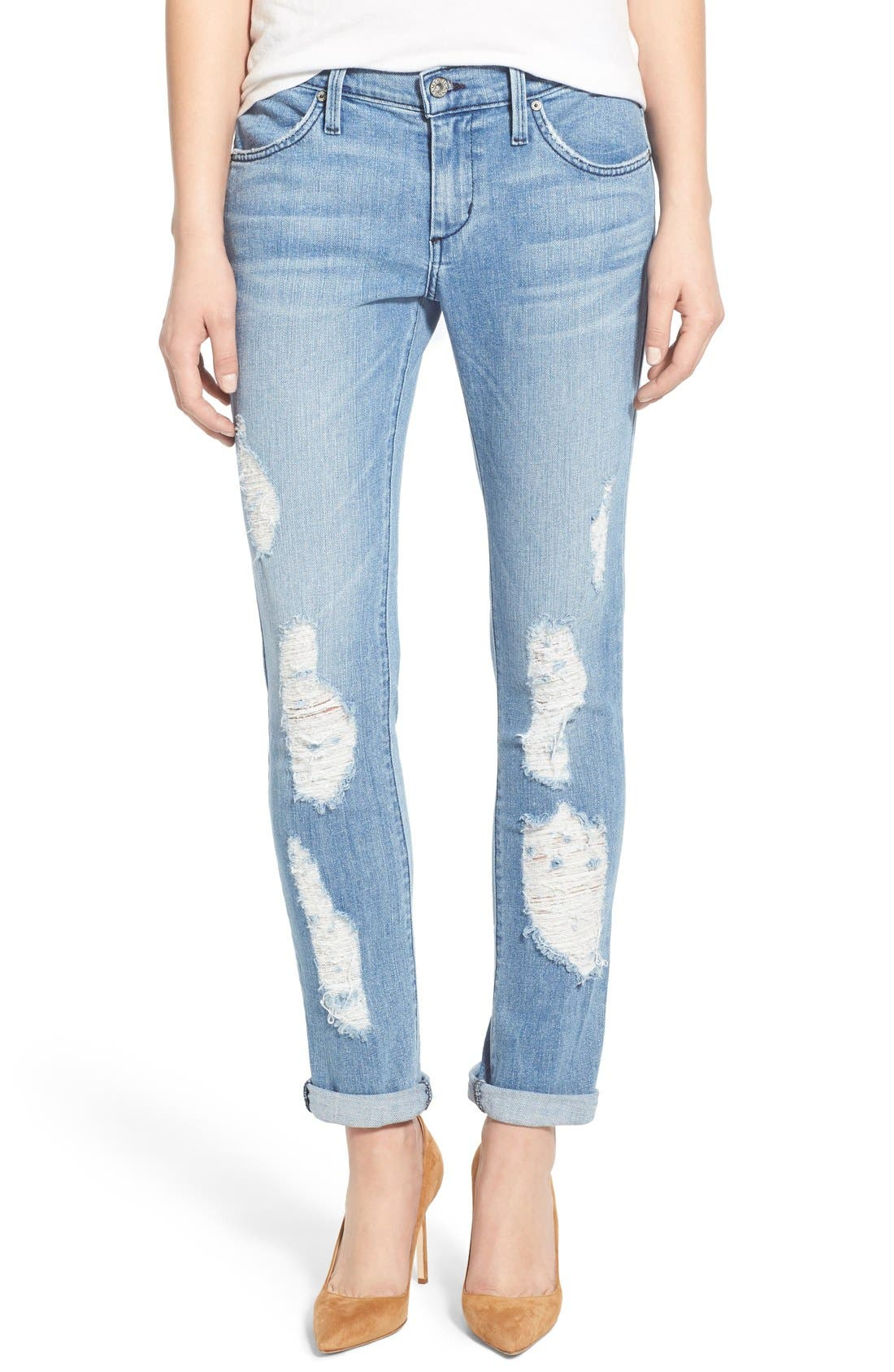 Alternate Image 1 Selected - James Jeans Distressed Slim Boyfriend Jeans (Joy Ride)