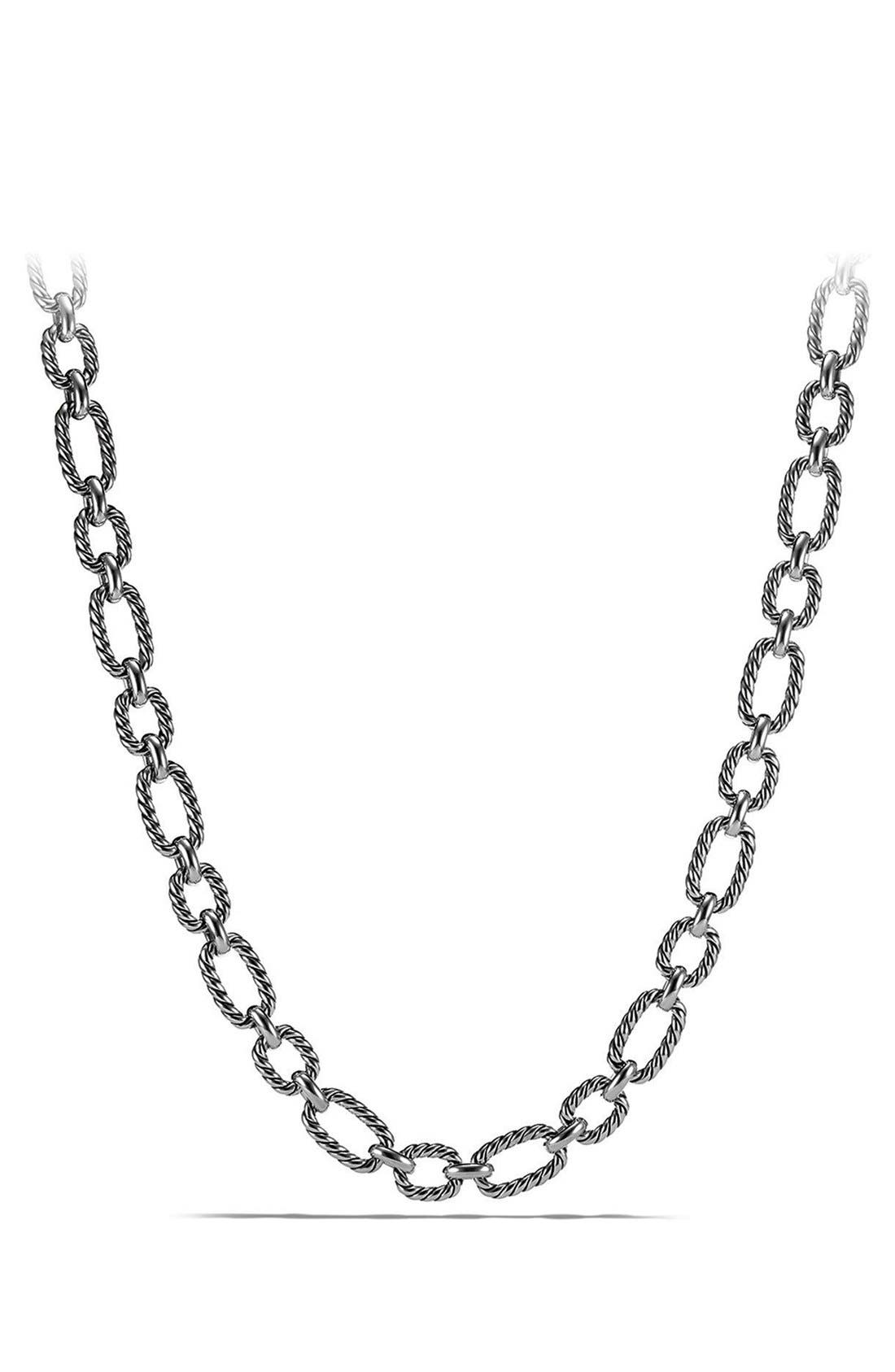 DAVID YURMAN 'Chain' Cushion Link Necklace with Blue