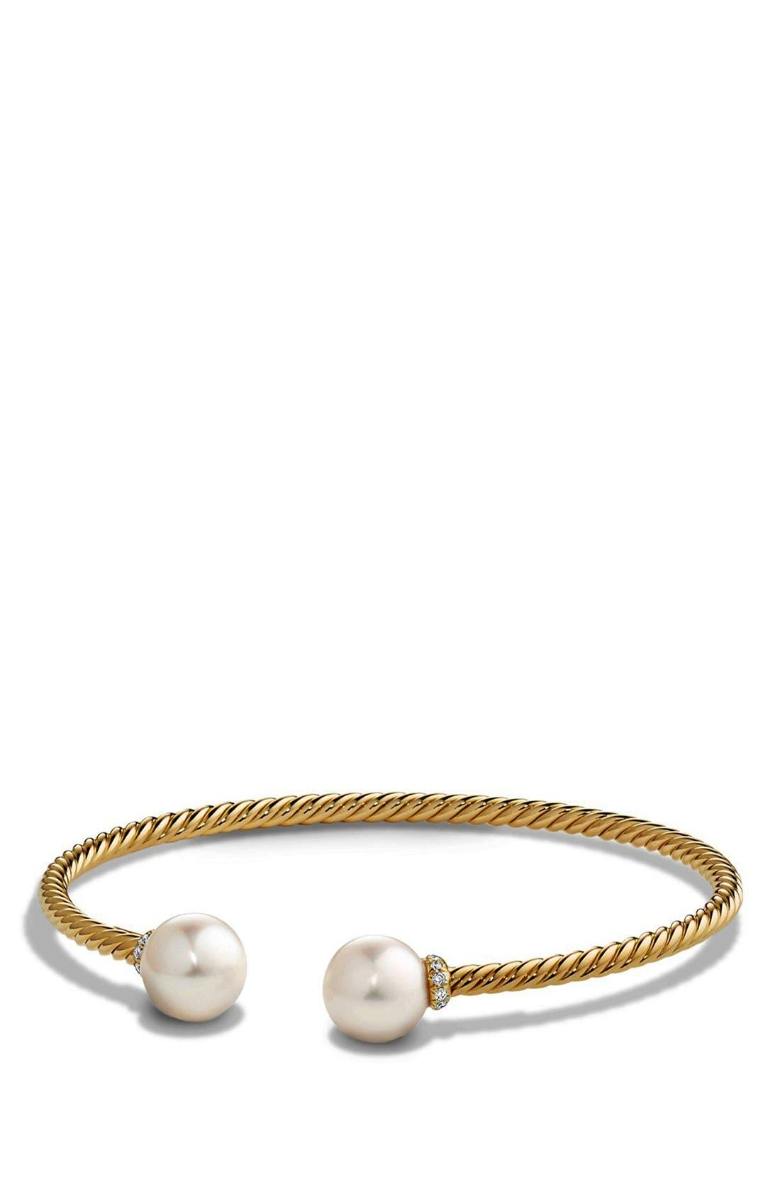 David Yurman 'Solari' Bead Bracelet with Diamonds and Pearls in 18K Gold