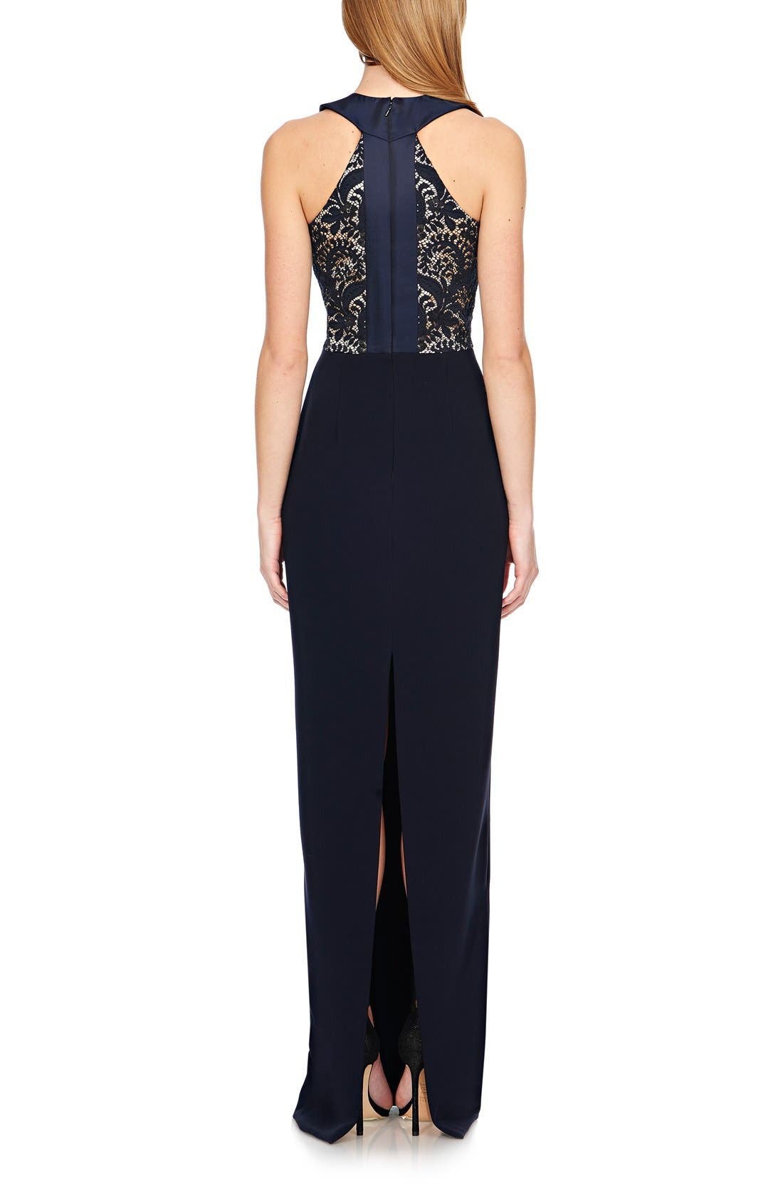 Alternate Image 2  - Theia Bonded Lace & Crepe Column Gown