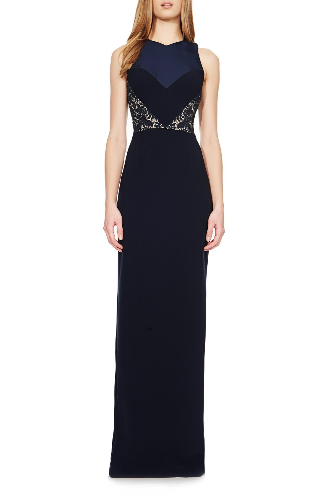 Main Image - Theia Bonded Lace & Crepe Column Gown