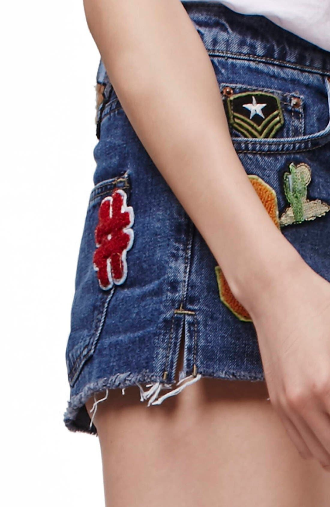 Alternate Image 5  - Topshop Patch Raw Hem High Rise Jean Shorts (Petite)