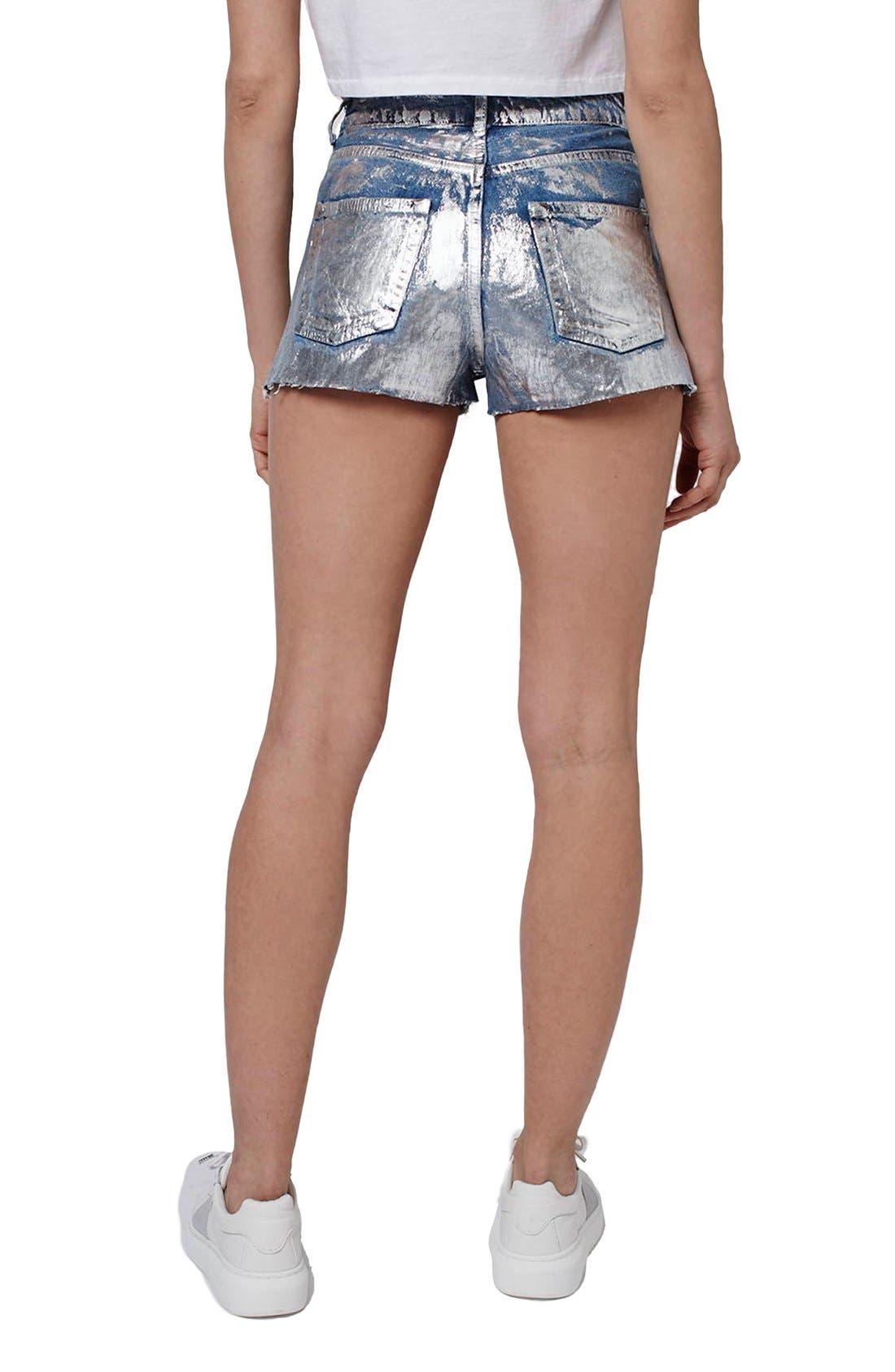 Alternate Image 3  - Topshop Moto Metallic Paint Cutoff Mom Shorts
