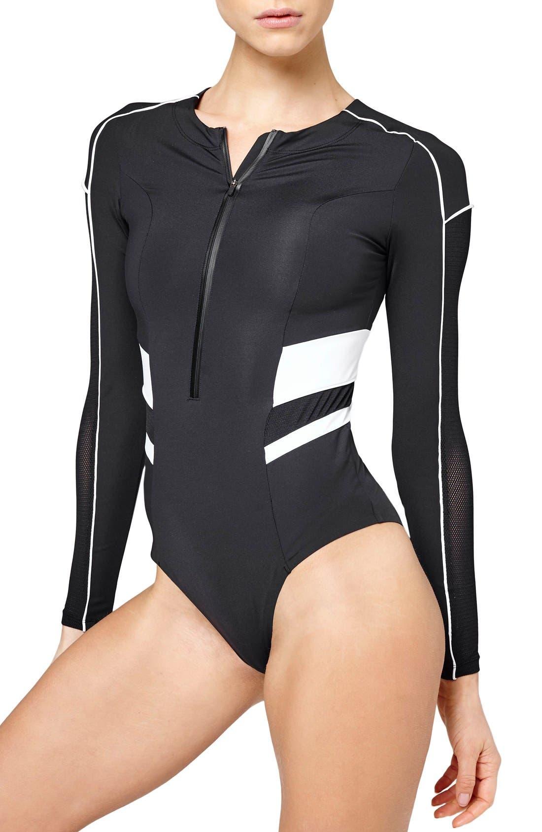 Alternate Image 1 Selected - IVY PARK® Biker Colorblock Bodysuit