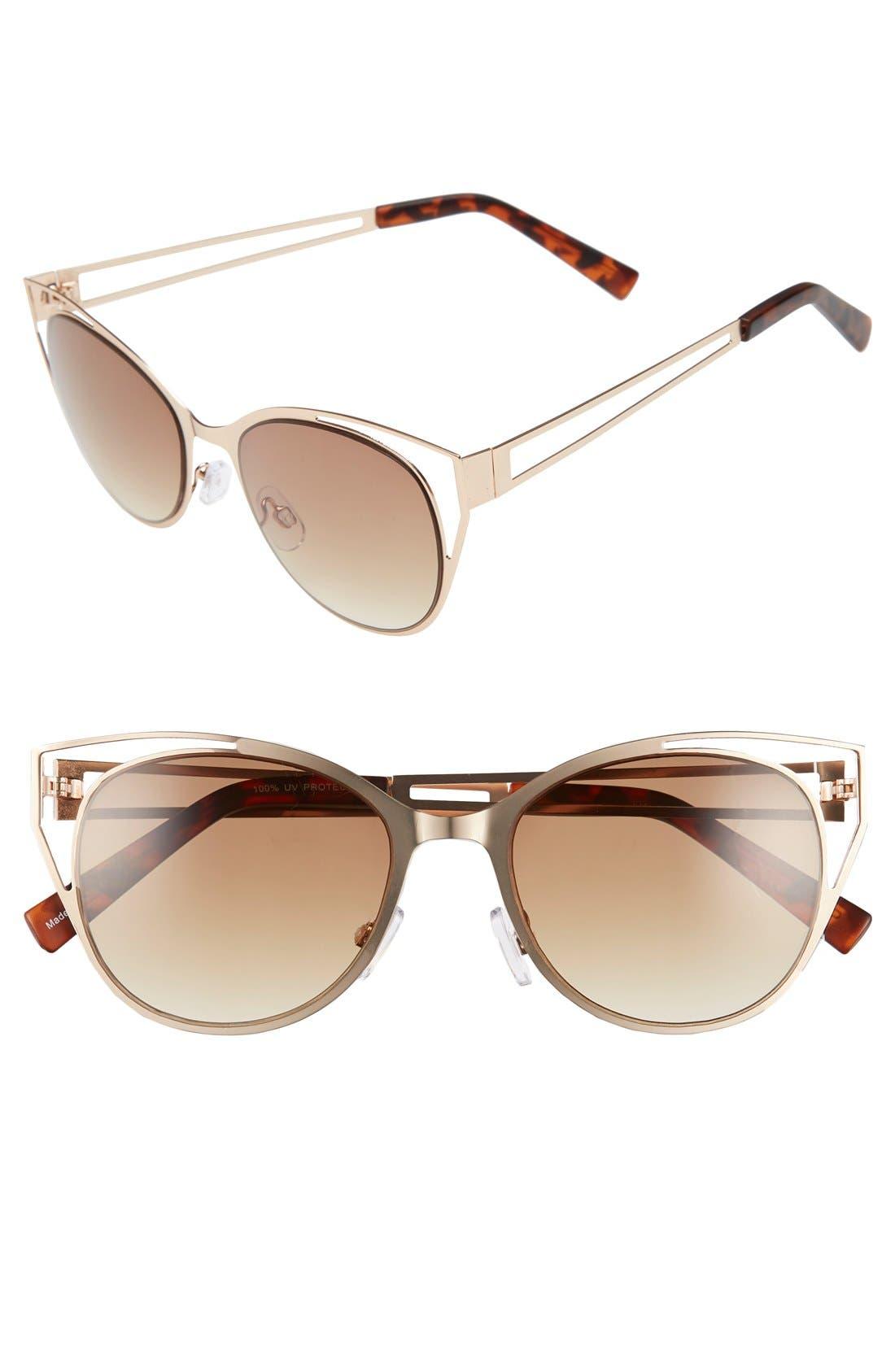 Main Image - BP. 54mm Cutout Cat Eye Metal Sunglasses