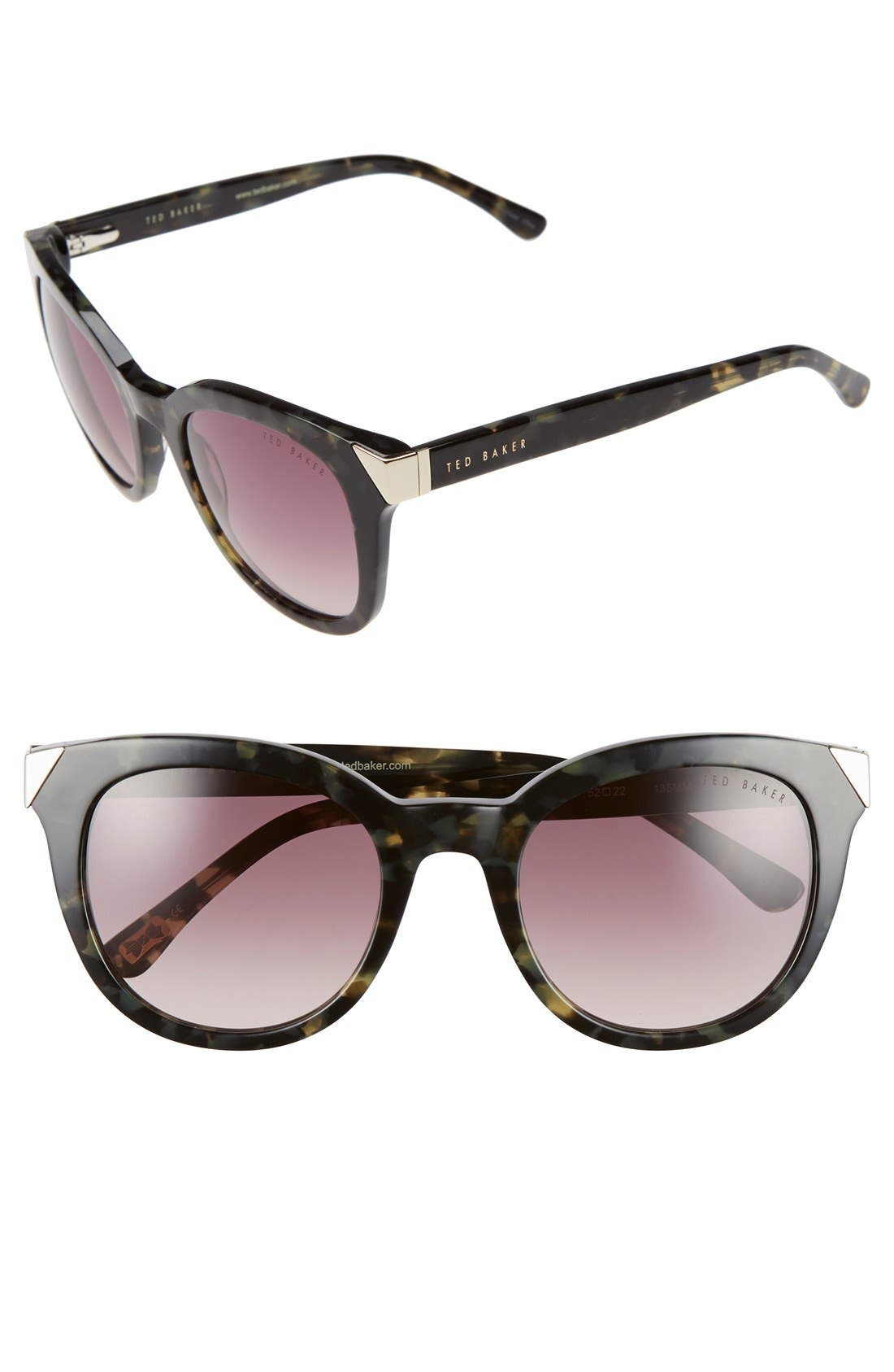 Ted Baker London 52mm Metal Accent Sunglasses
