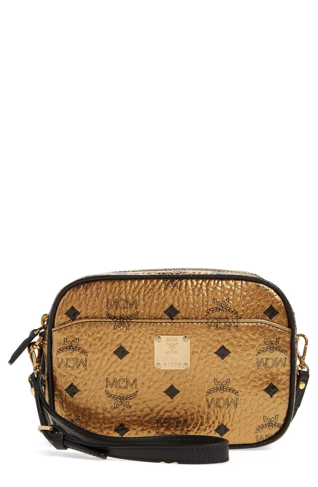 Main Image - MCM 'Heritage - Visetos' Metallic Coated Canvas Crossbody Bag (Nordstrom Exclusive)