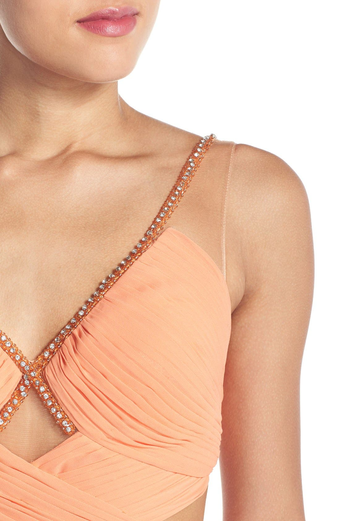 Alternate Image 4  - Terani Couture Cutout Embellished Chiffon Gown