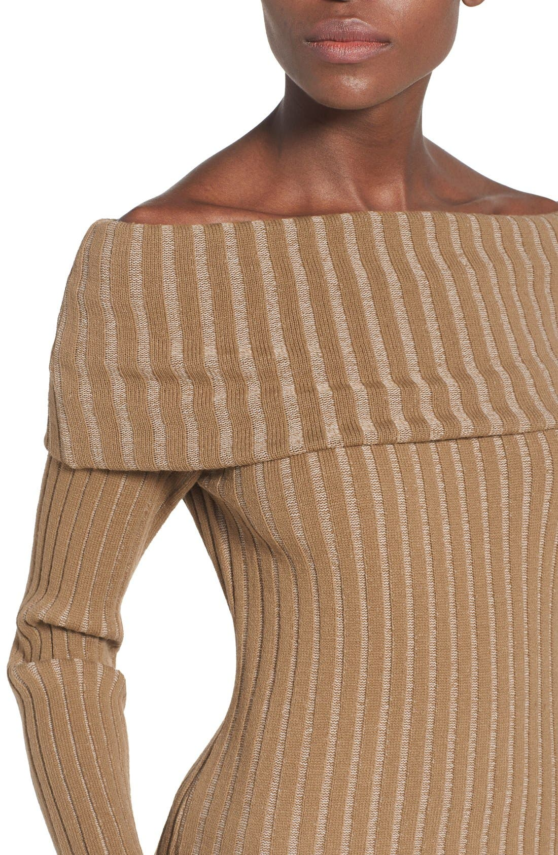 Alternate Image 4  - Missguided Ribbed Off the Shoulder Sweater