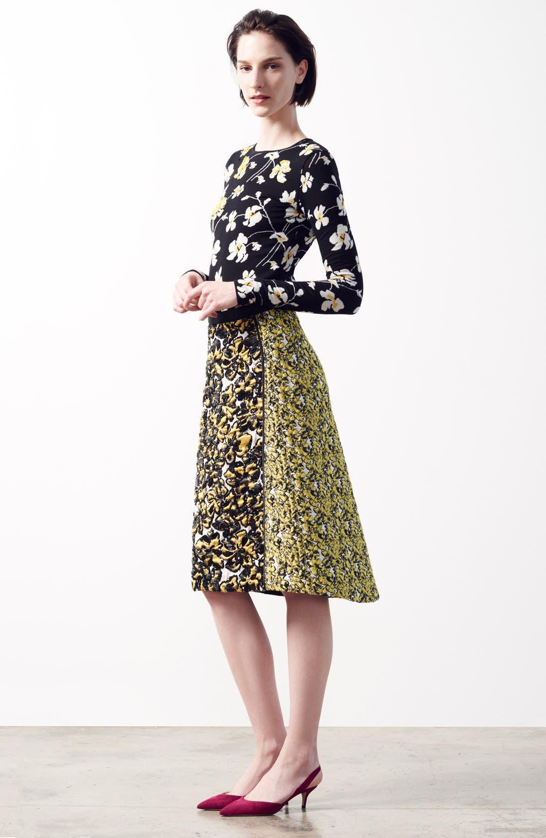 Alternate Image 6  - Oscar de la Renta Embellished Floral Jacquard Skirt
