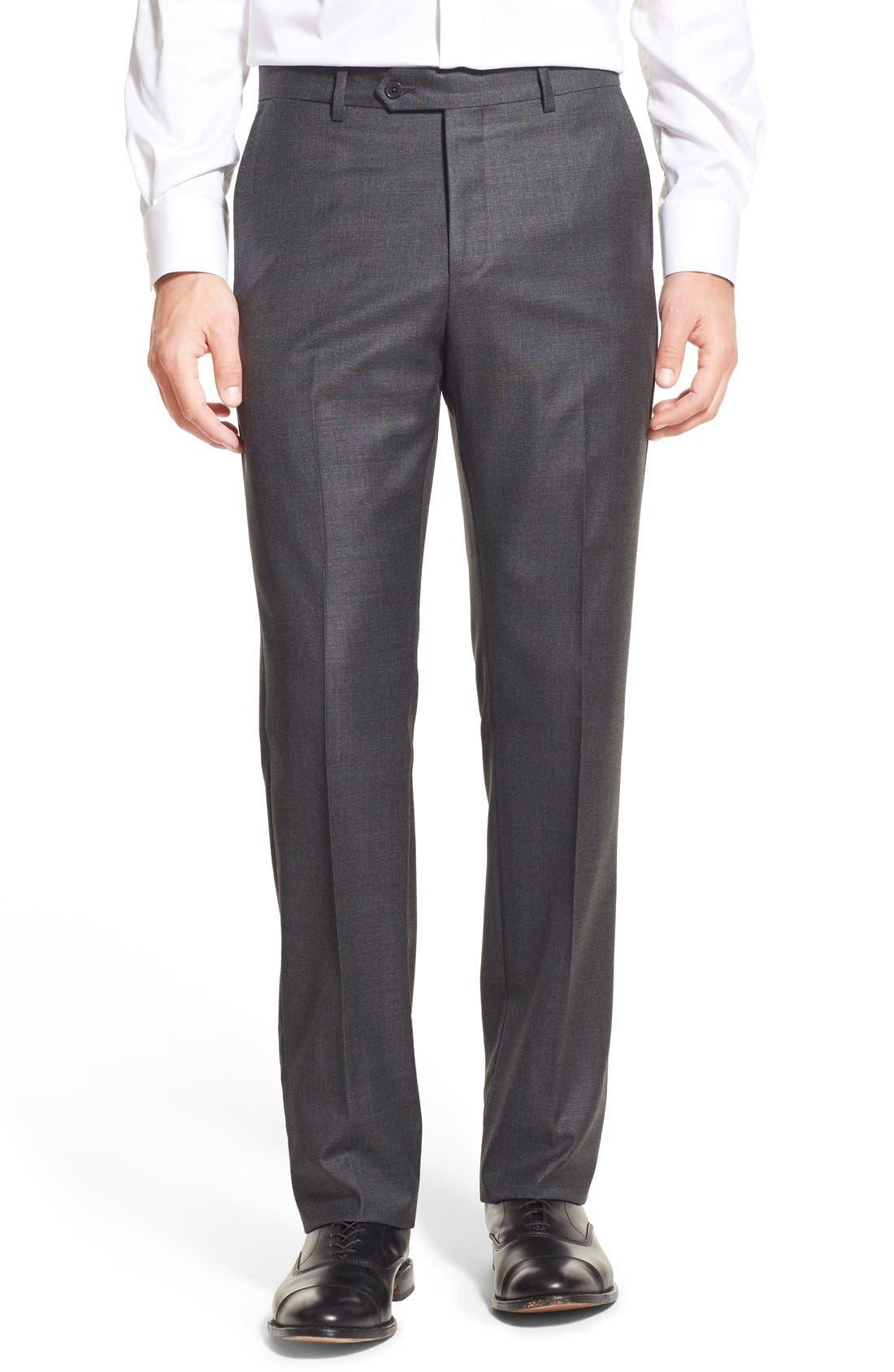MONTE ROSSO Flat Front Sharkskin Wool Trousers