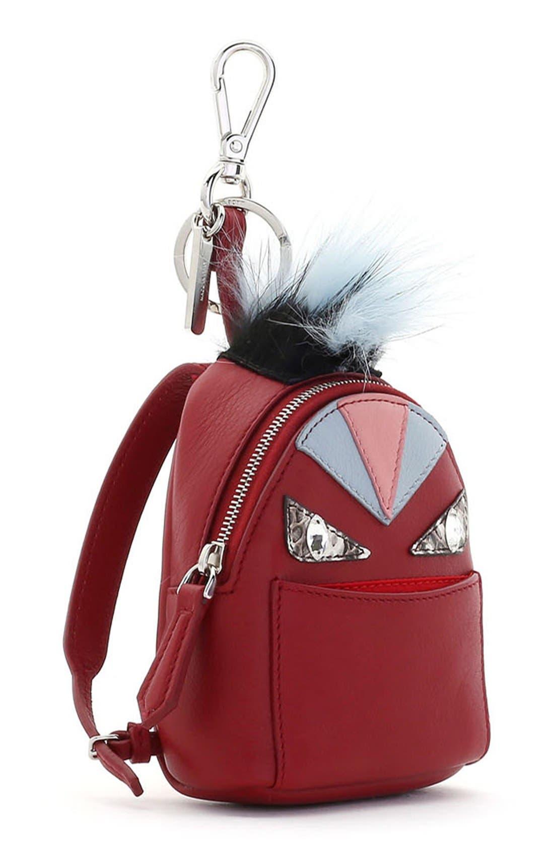 Alternate Image 2  - Fendi 'Monster' Genuine Fox Fur Trim Backpack Bag Charm