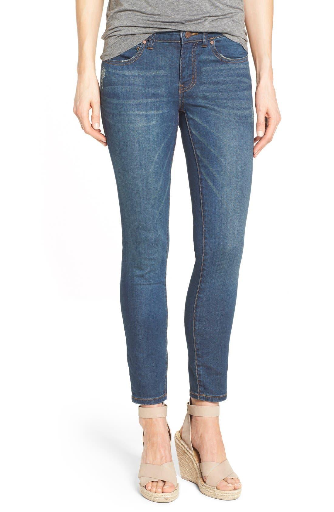 Main Image - Caslon® Stretch Skinny Ankle Jeans (Midnight) (Regular & Petite)