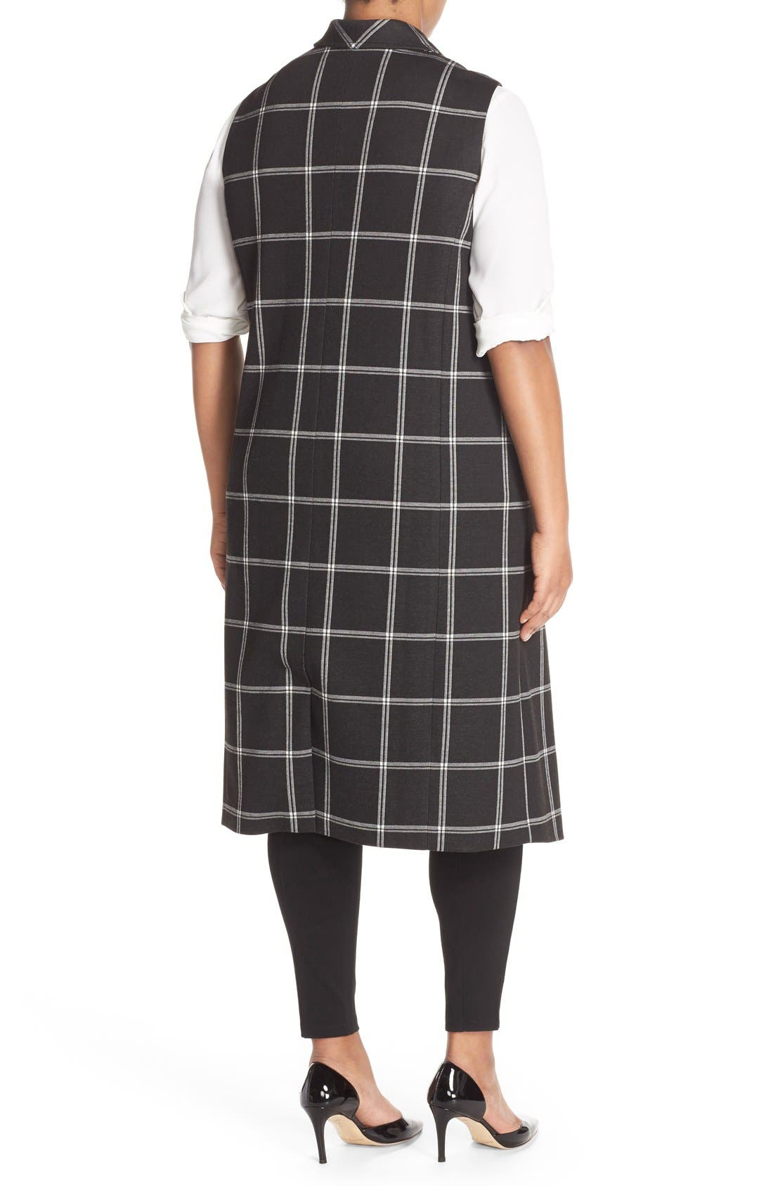 Alternate Image 2  - Halogen® Windowpane Check Long Vest (Plus Size)