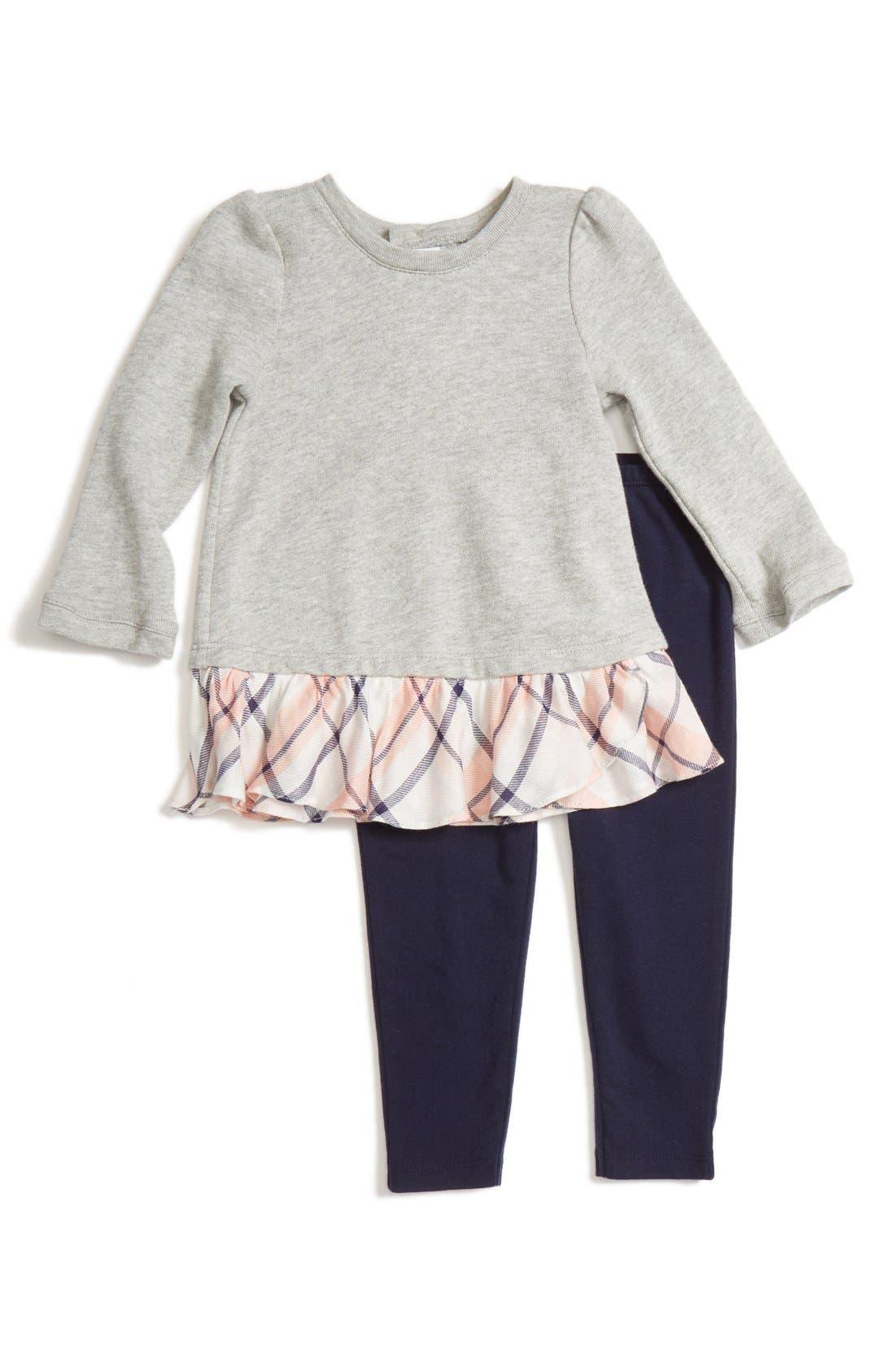 Main Image - Splendid Plaid Peplum Top & Leggings Set (Baby Girls)