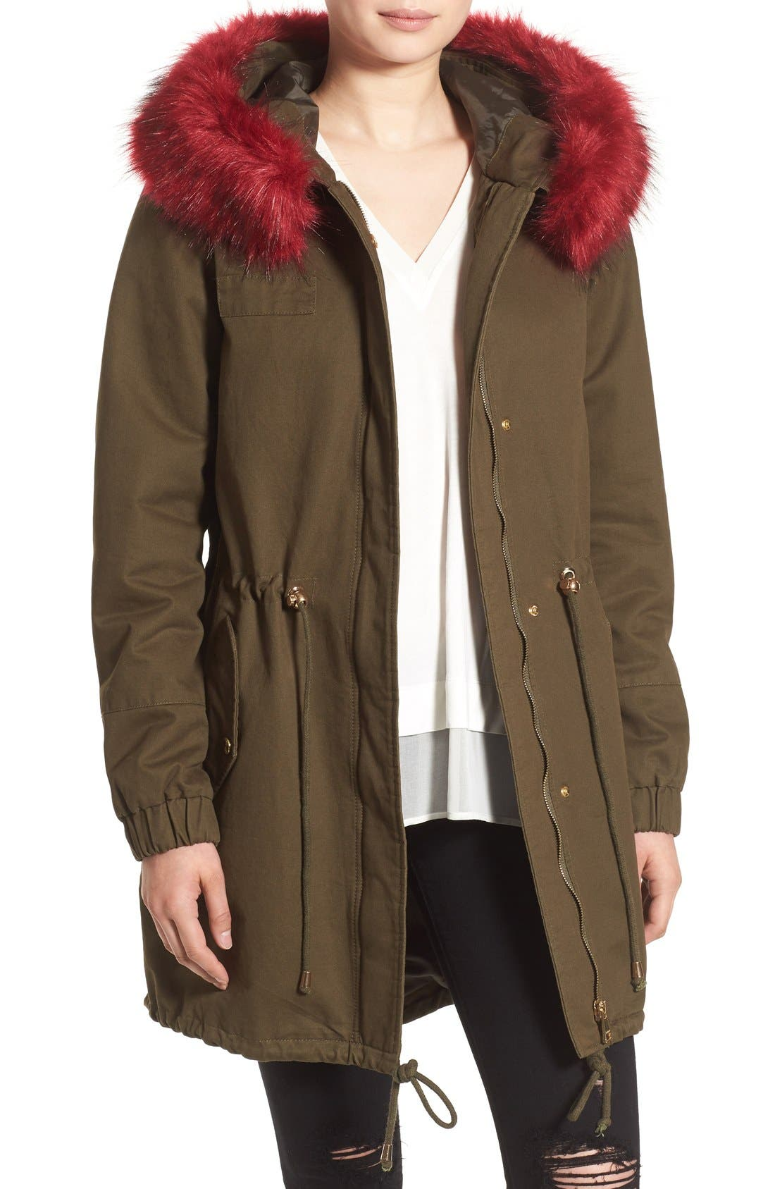 BEBE Anorak with Faux Fur Ruff
