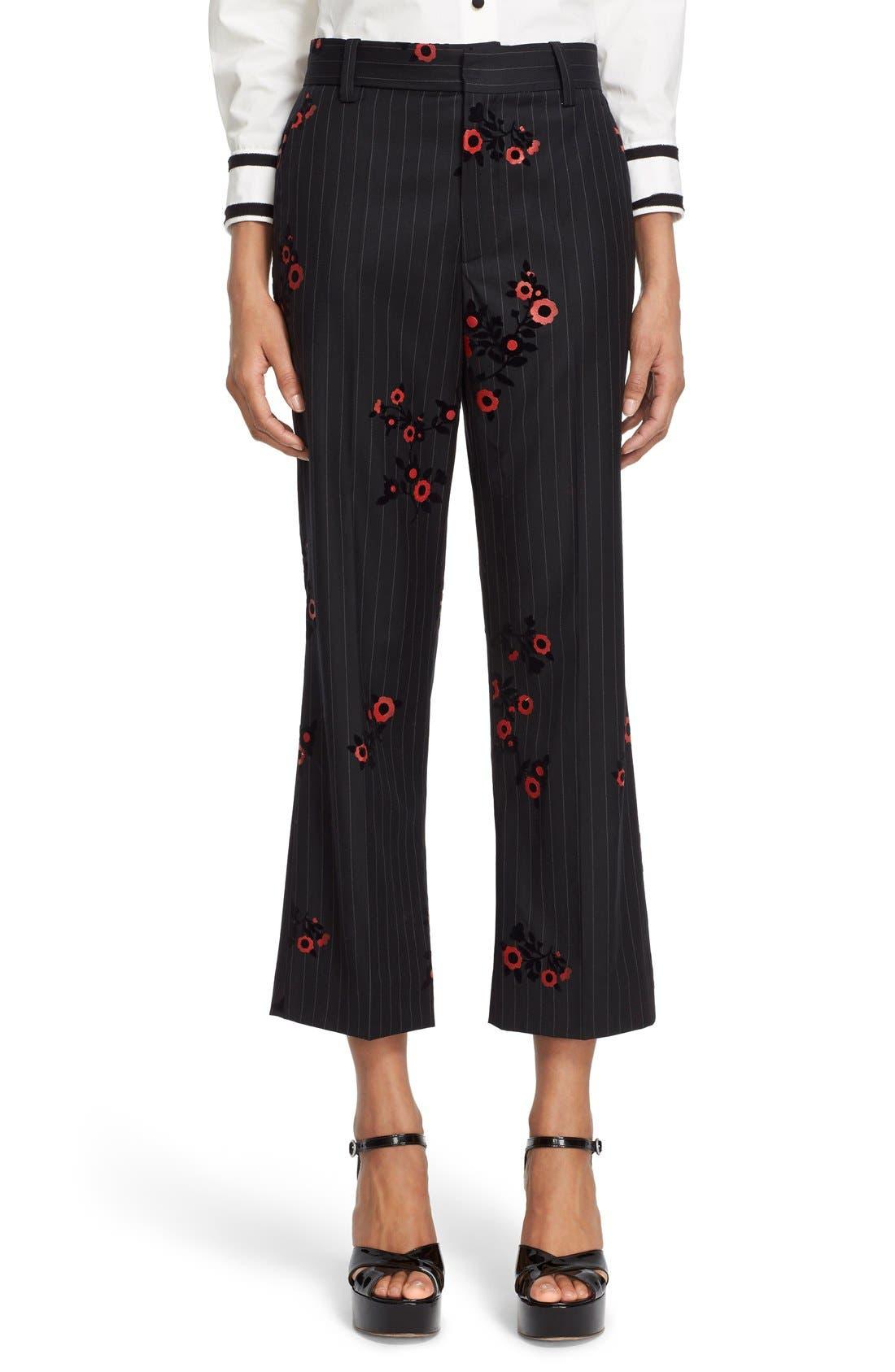 Main Image - MARC JACOBS Floral & Pinstripe Crop Flare Wool Pants