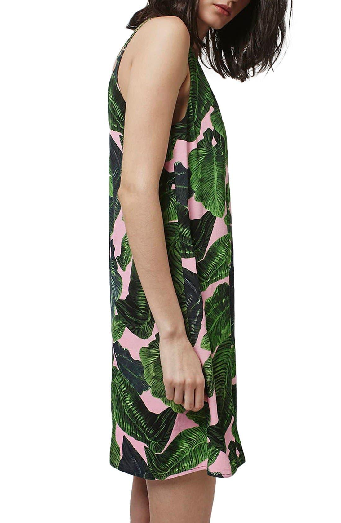 Alternate Image 3  - Topshop Palm Print Cross Back Slipdress