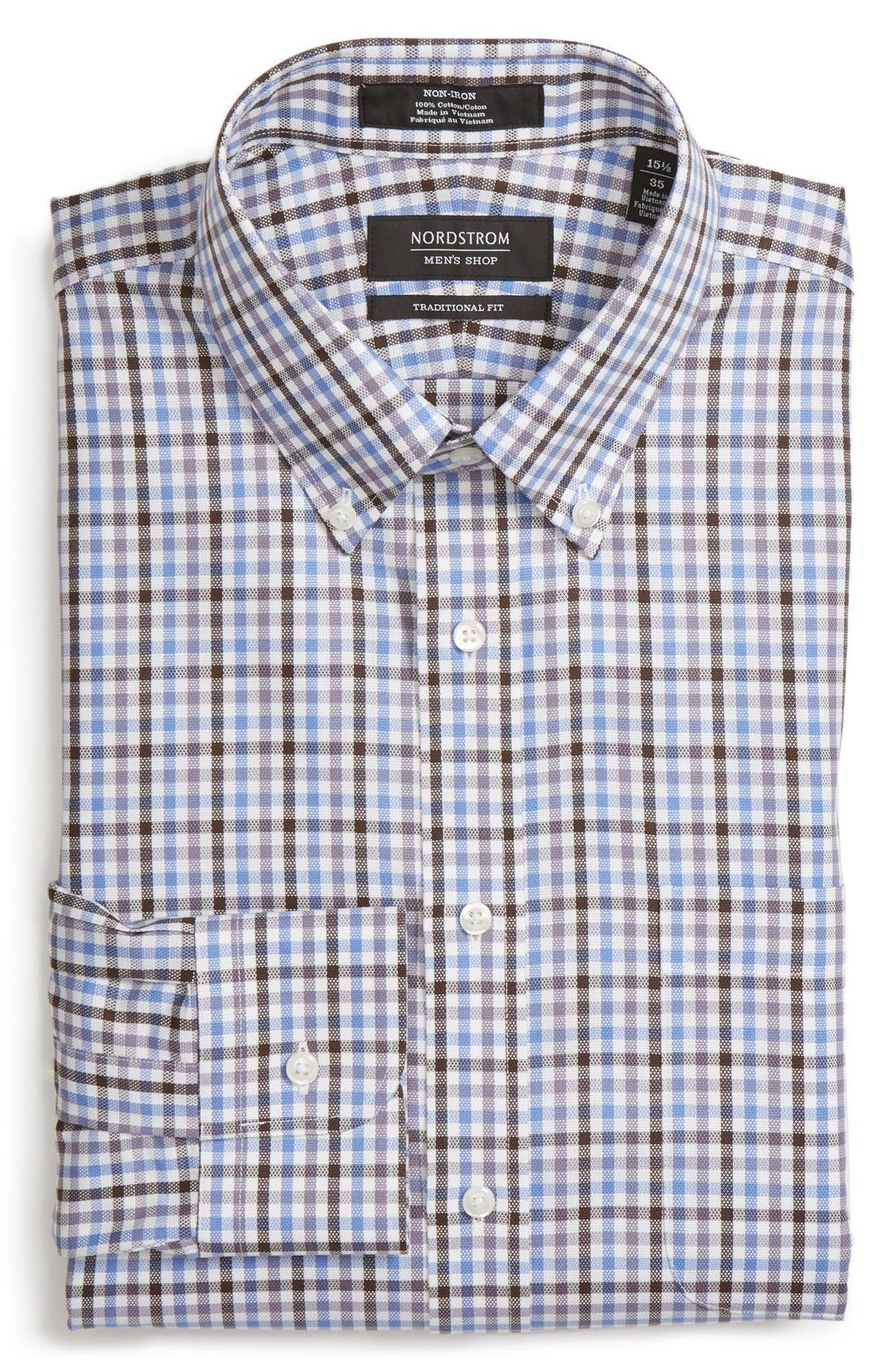 NORDSTROM MEN'S SHOP Traditional Fit Non-Iron Check Dress