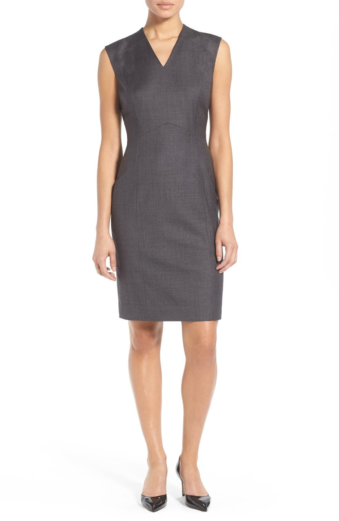 Alternate Image 1 Selected - Classiques Entier® V-Neck Superfine Wool Sheath Dress