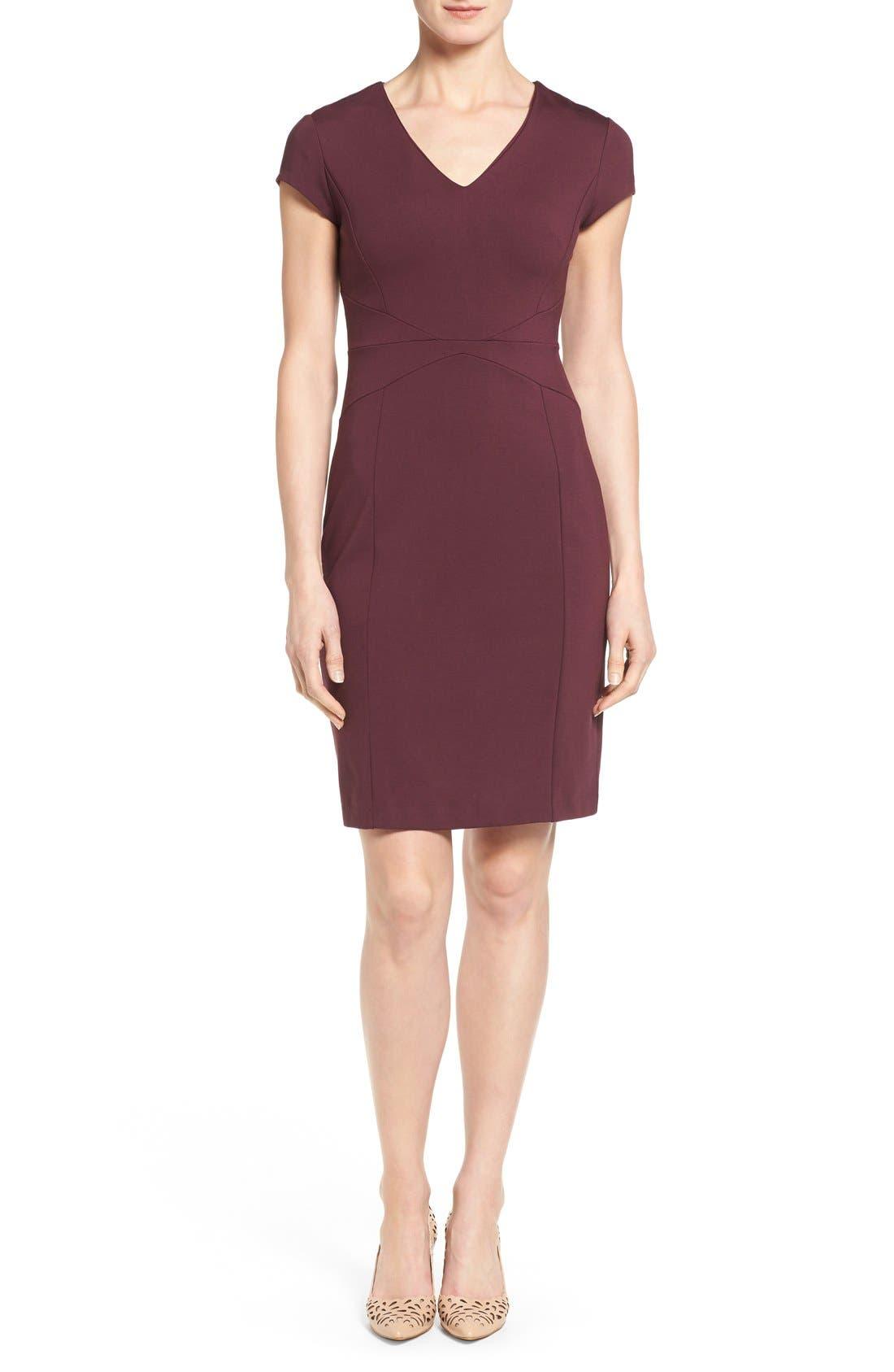 Main Image - Halogen® Seamed V-Neck Ponte Sheath Dress (Regular & Petite)