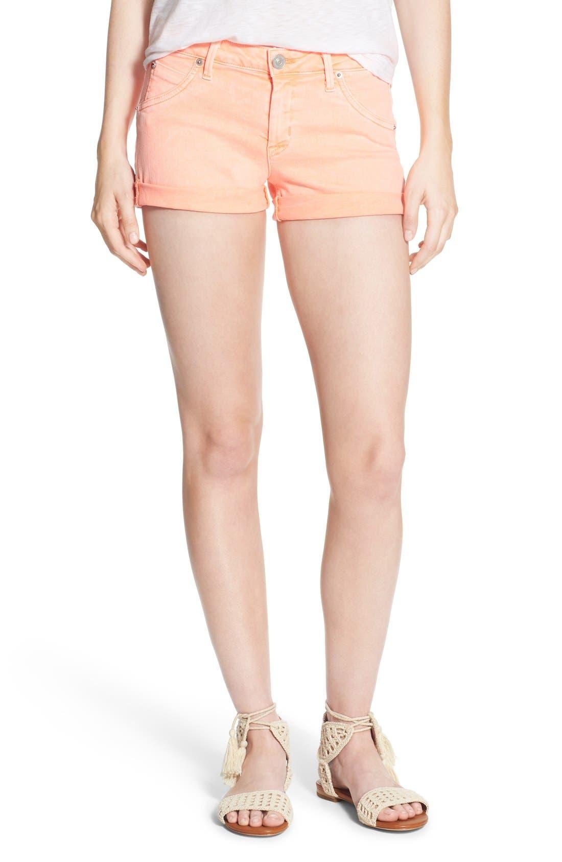 Main Image - Hudson Jeans 'Hampton' Cuffed Denim Shorts (Luminous Orange)