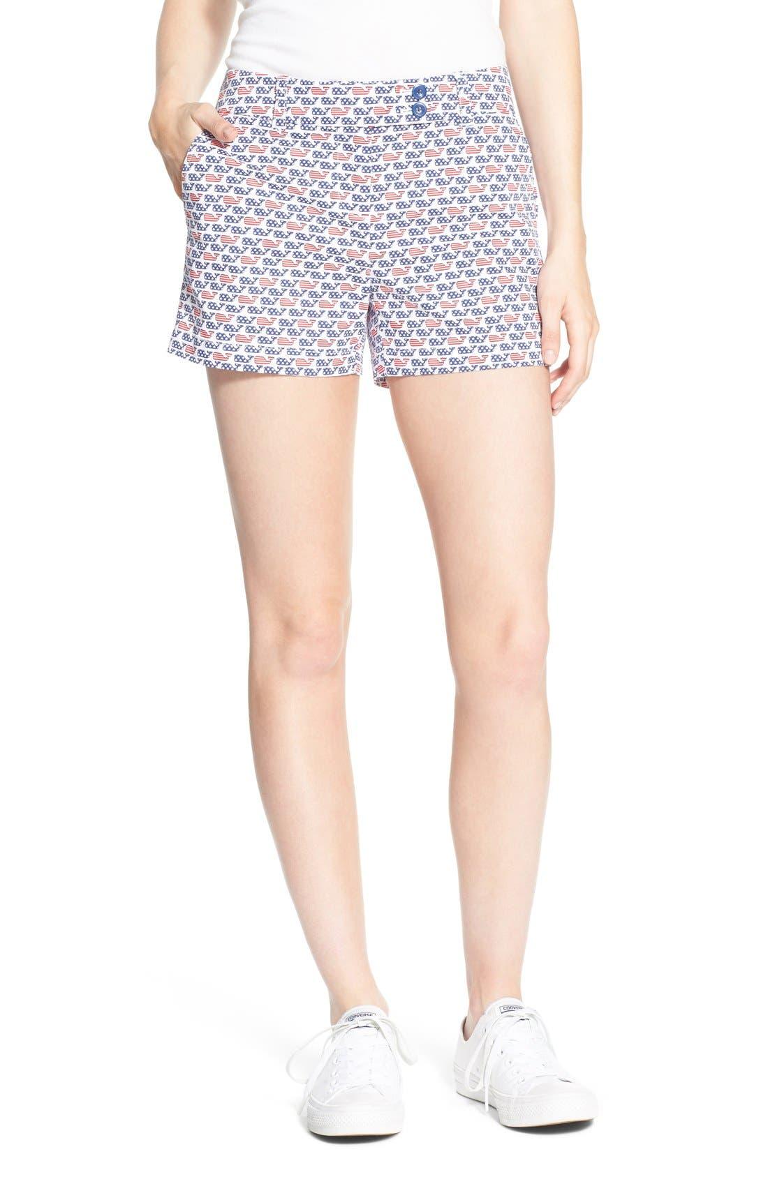 Vineyard Vines 'Flag Whale' Print Stretch Cotton Shorts ...