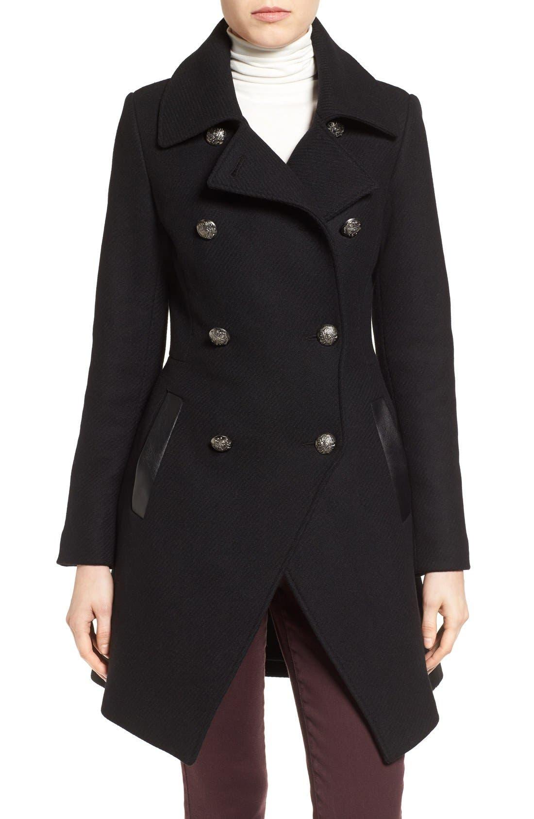 Alternate Image 1 Selected - Trina Turk Wool Blend Military Coat (Regular & Petite)