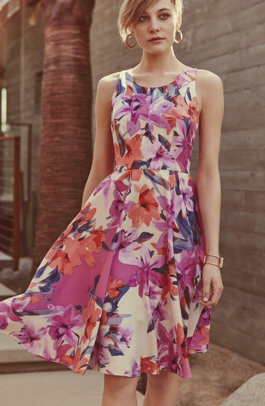 Alternate Image 6  - Donna Morgan Floral Print Woven Fit & Flare Dress