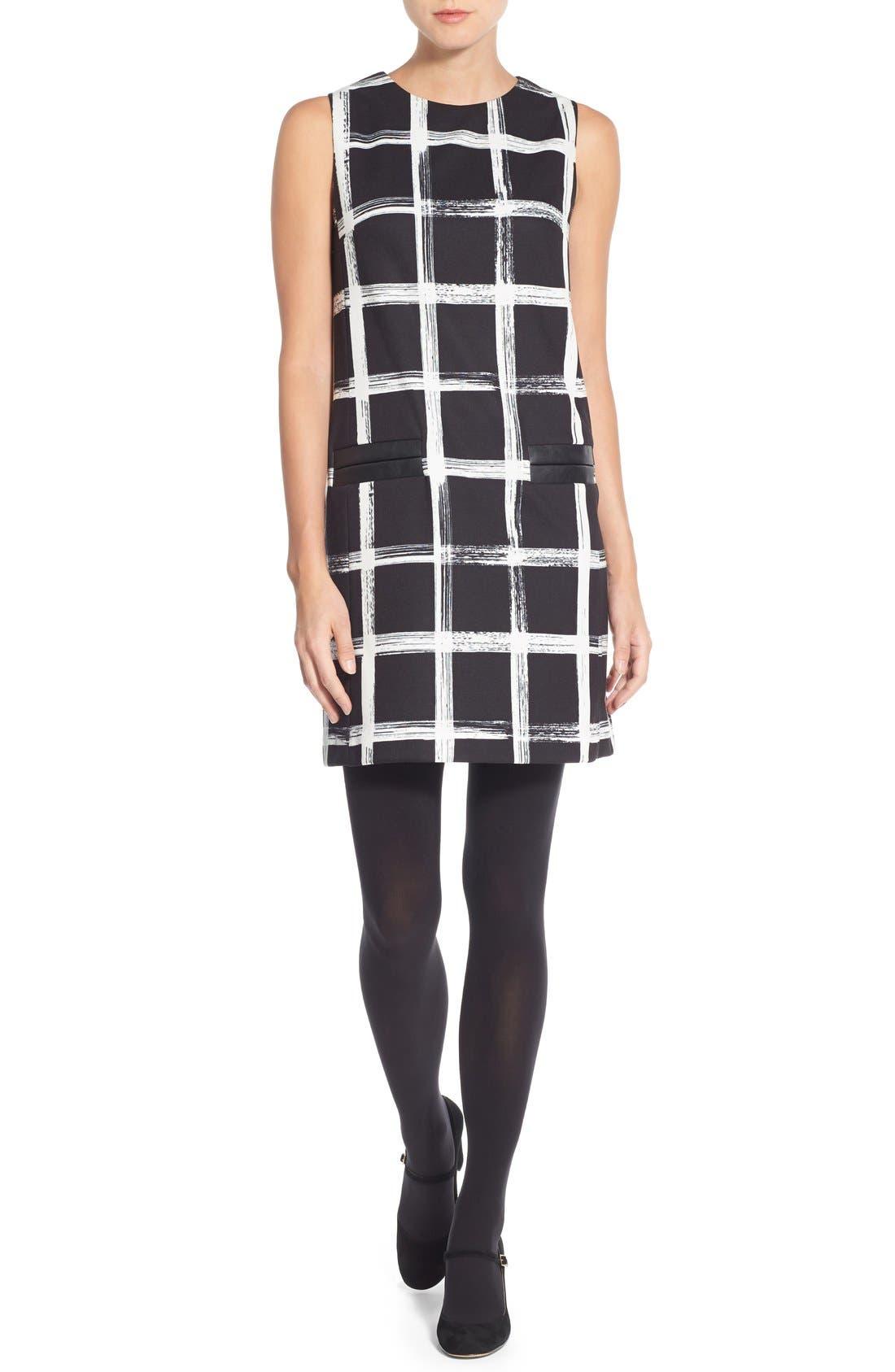 Alternate Image 5  - Eliza J Windowpane Print Ponte Shift Dress (Regular & Petite)