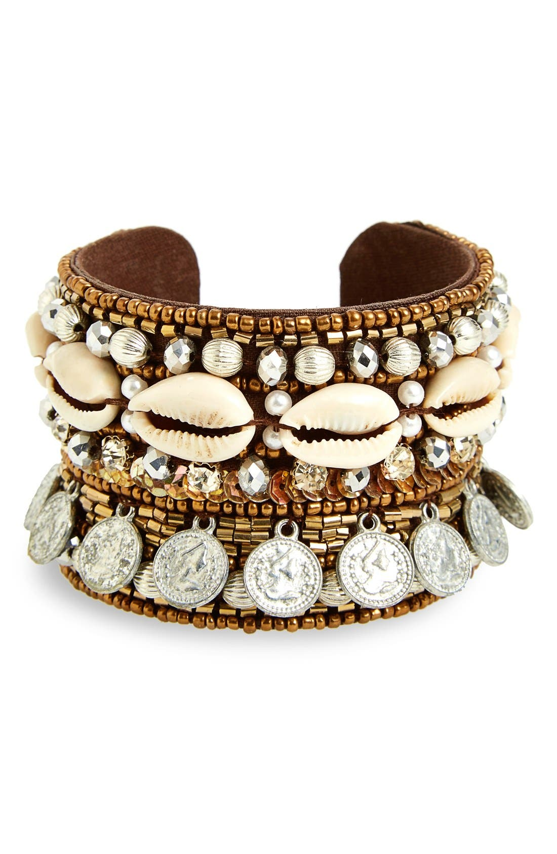 Alternate Image 1 Selected - Topshop Fabric Wrapped Shell & Coin Cuff