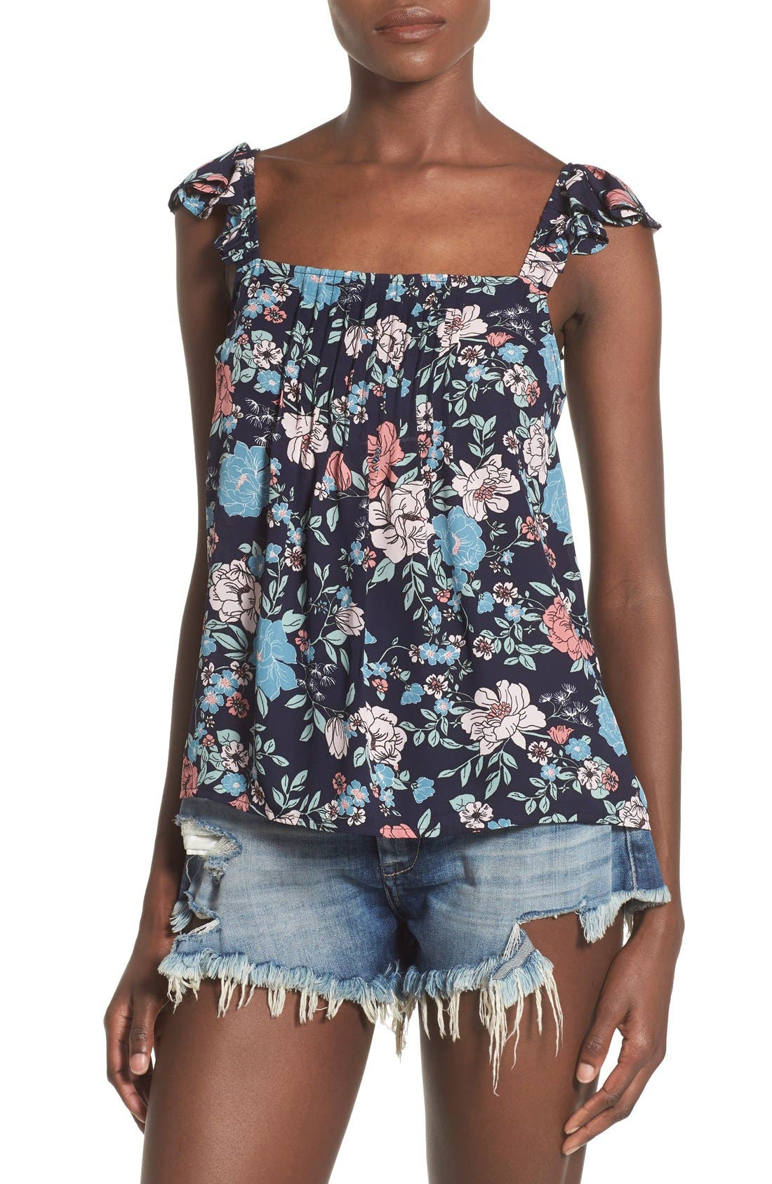 Alternate Image 1 Selected - Leith Floral Print Pintuck Tank