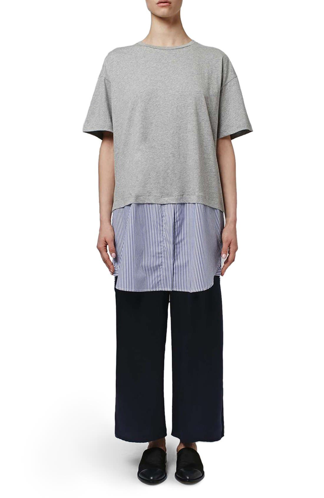 Alternate Image 2  - Topshop Boutique Stripe Shirt Hem T-Shirt Dress