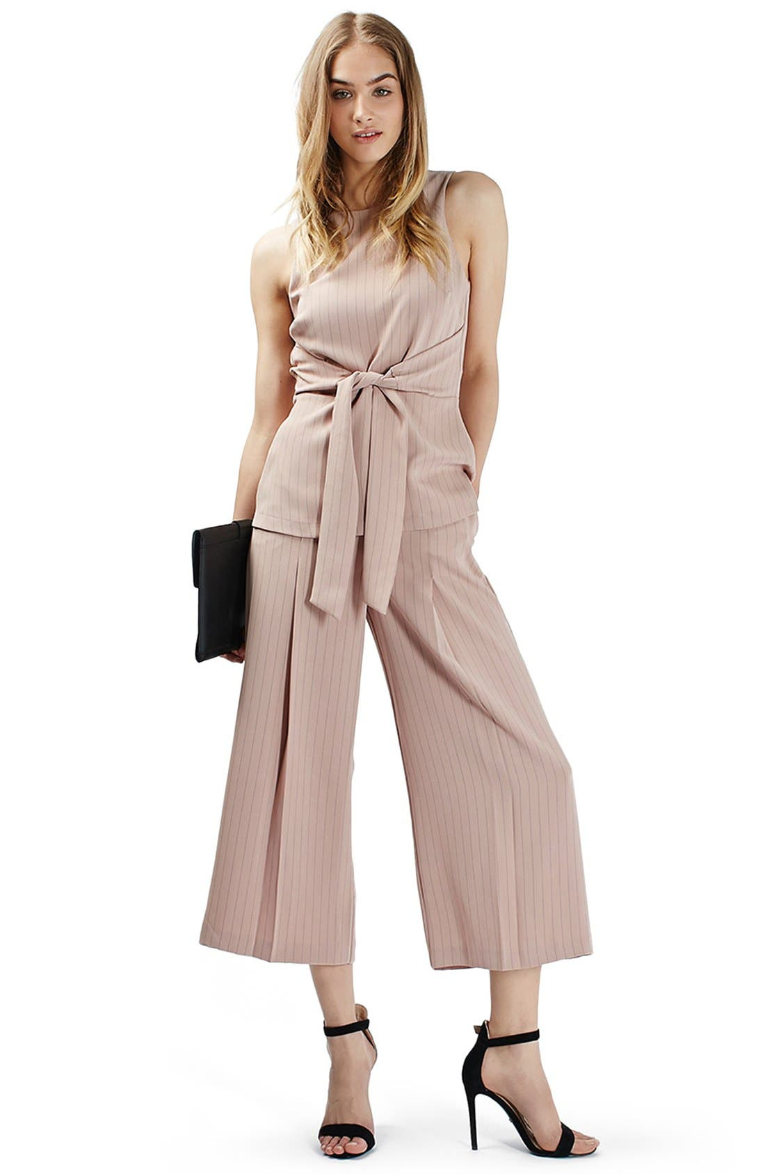 Alternate Image 2  - Topshop Pinstripe Wide Leg Crop Pants