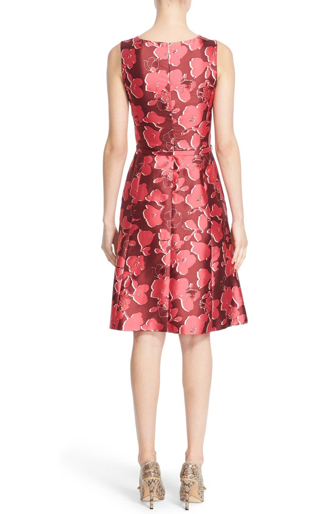 Alternate Image 2  - Oscar de la Renta Floral Print Silk Blend Mikado Fit & Flare Dress