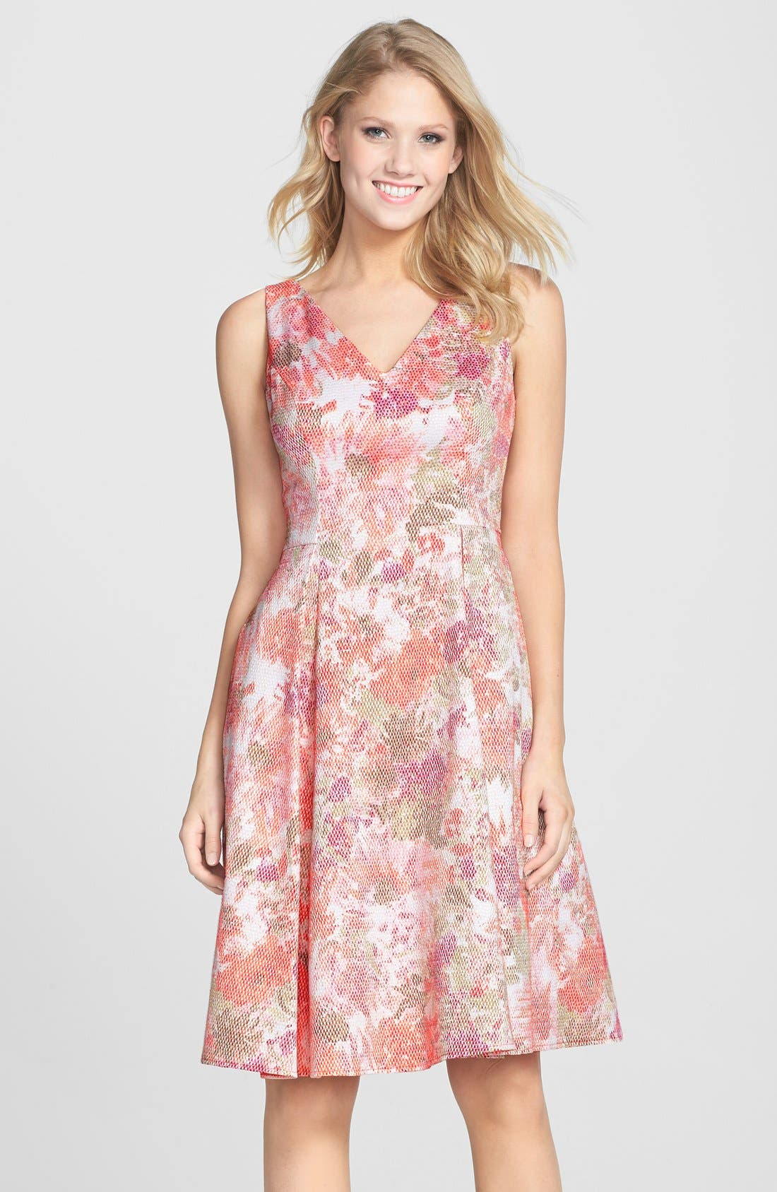 Main Image - Adrianna Papell Jacquard V-Neck Fit & Flare Dress