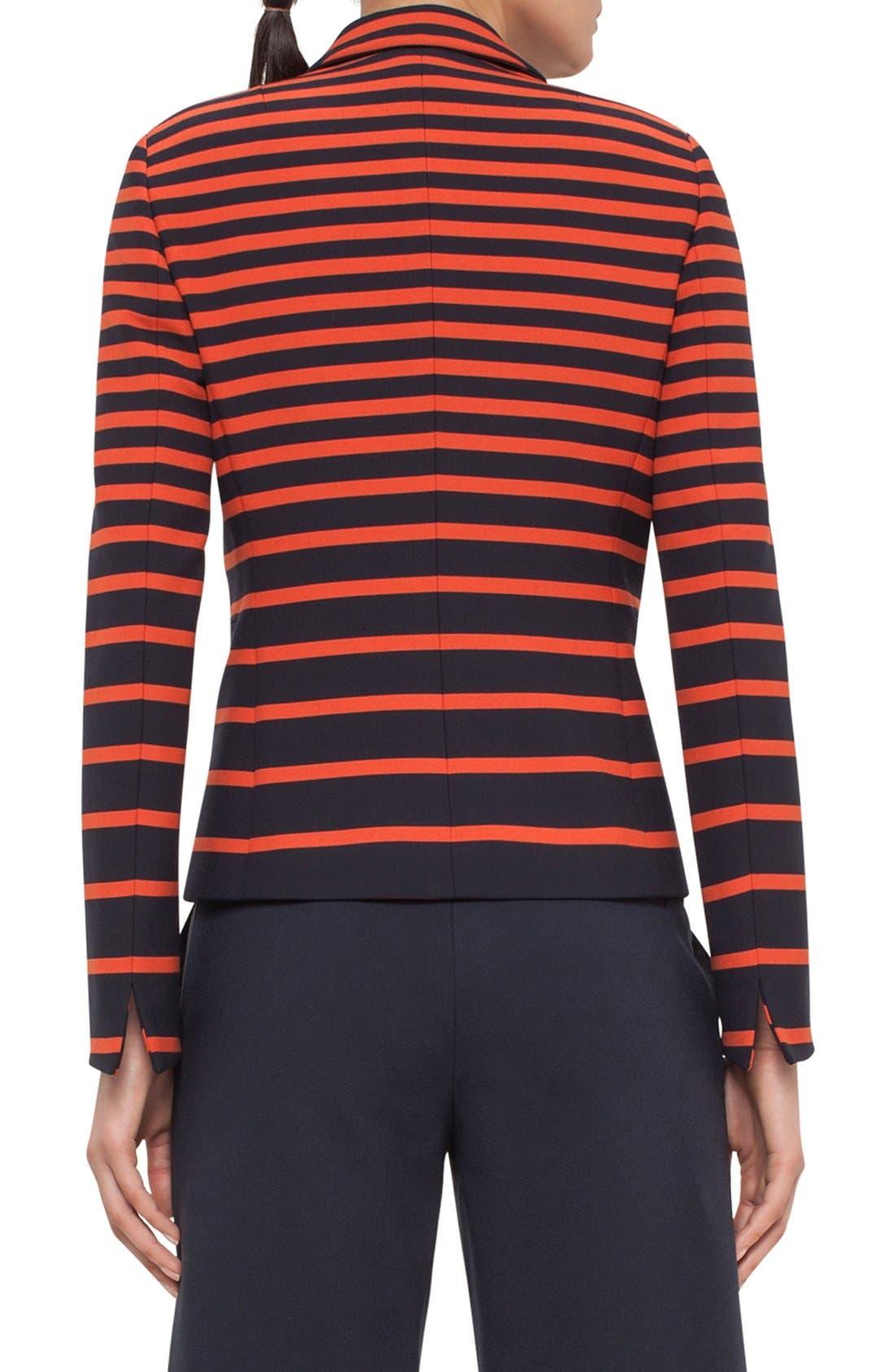 Alternate Image 2  - Akris punto Leather Trim Stripe Blazer