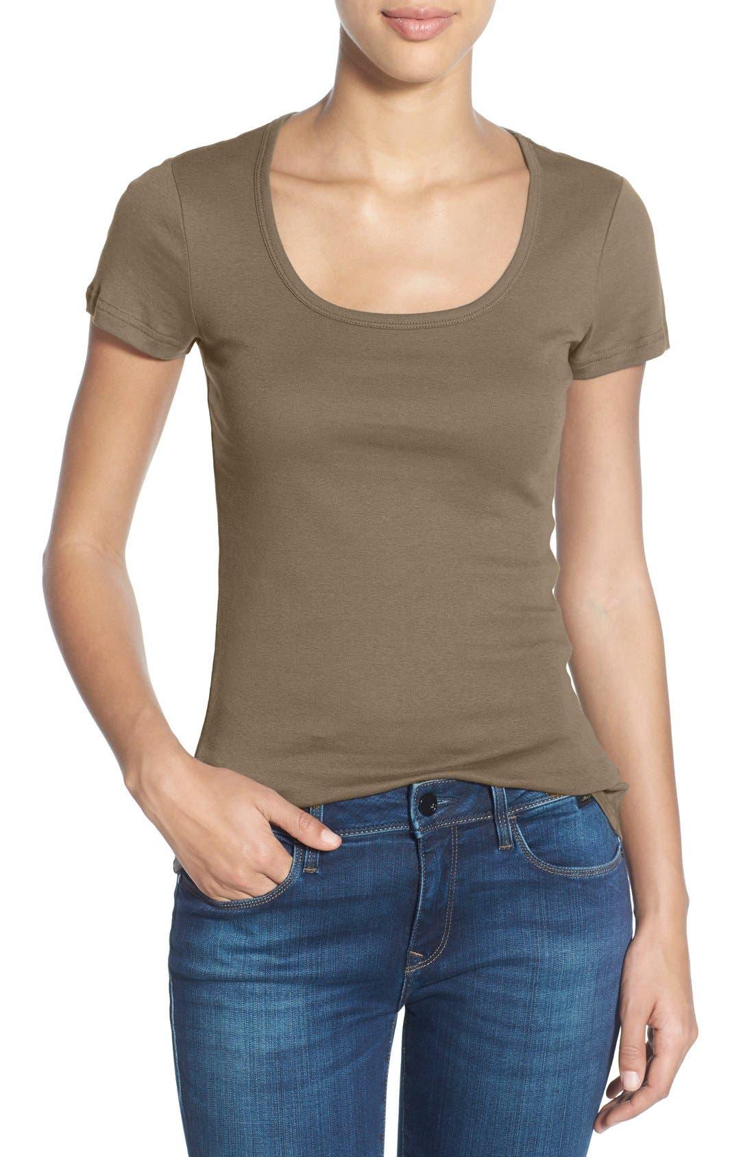Alternate Image 1 Selected - Caslon® Short Sleeve Scoop Neck Tee (Regular & Petite)