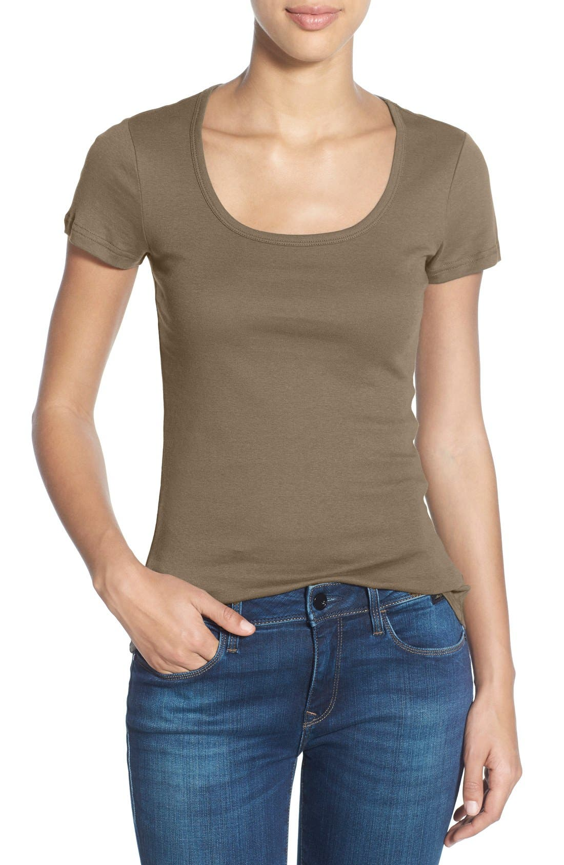 Main Image - Caslon® Short Sleeve Scoop Neck Tee (Regular & Petite)