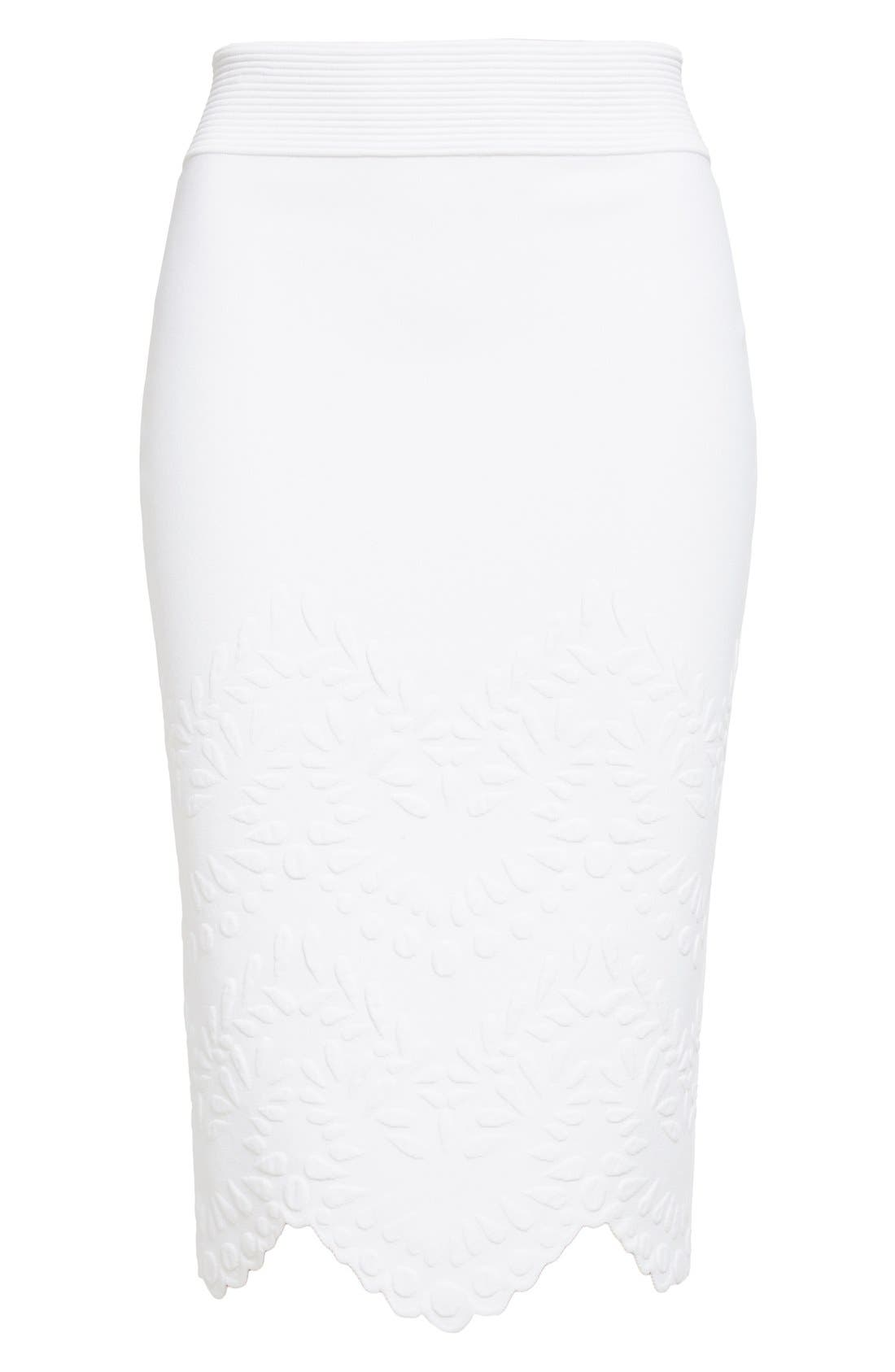 Alternate Image 4  - Alexander McQueen Embossed Jacquard Knit Pencil Skirt