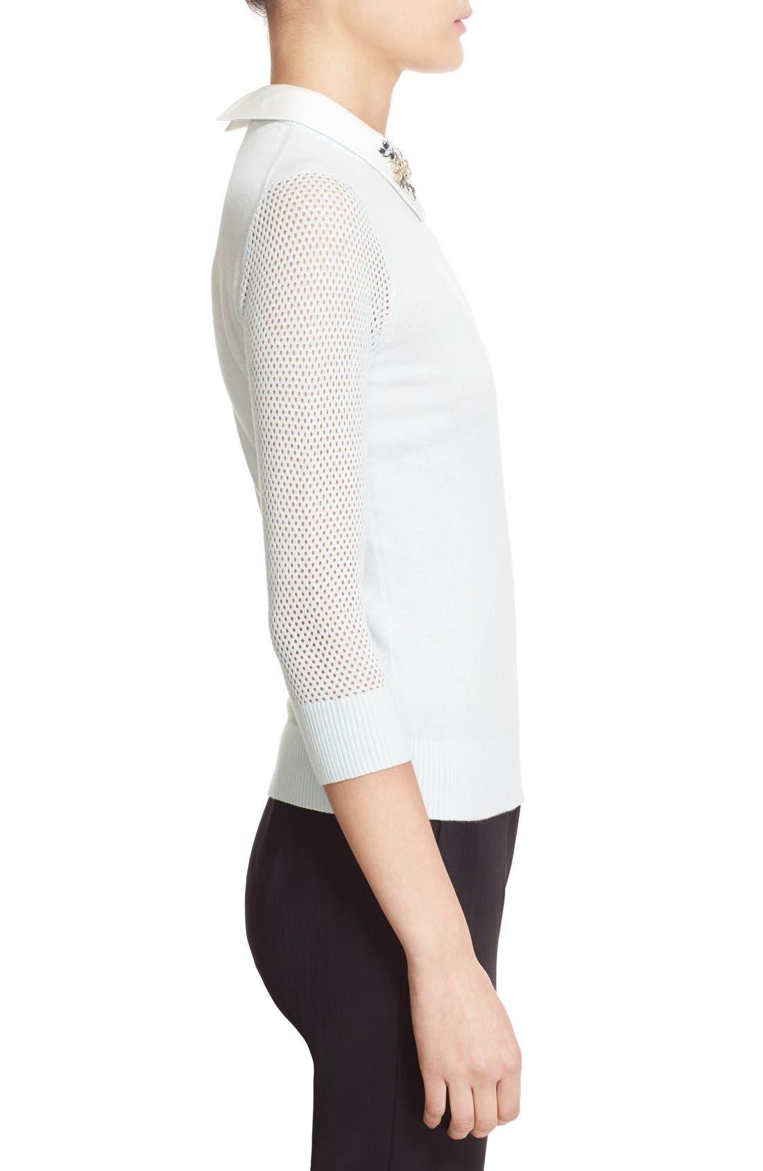 Alternate Image 3  - Ted Baker London Embellished Collar Mesh Sleeve Sweater