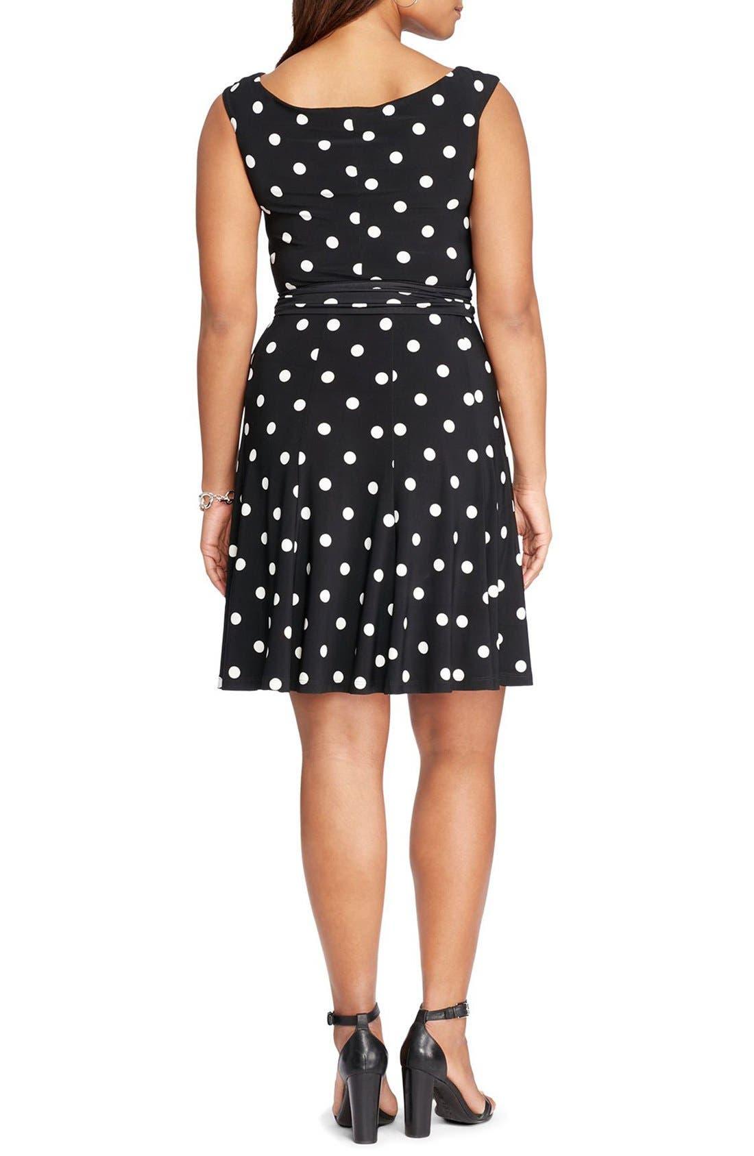 Alternate Image 2  - Lauren Ralph Lauren Dot Fit & Flare Dress (Plus Size)
