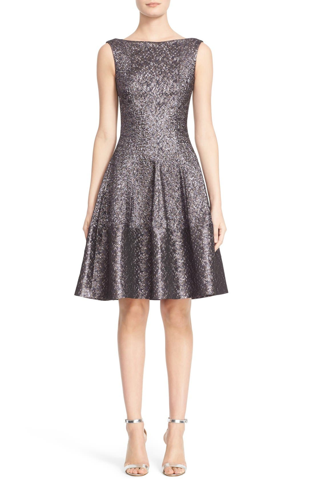 Talbot Runhof Hammered Metallic Jacquard Fit & Flare Dress