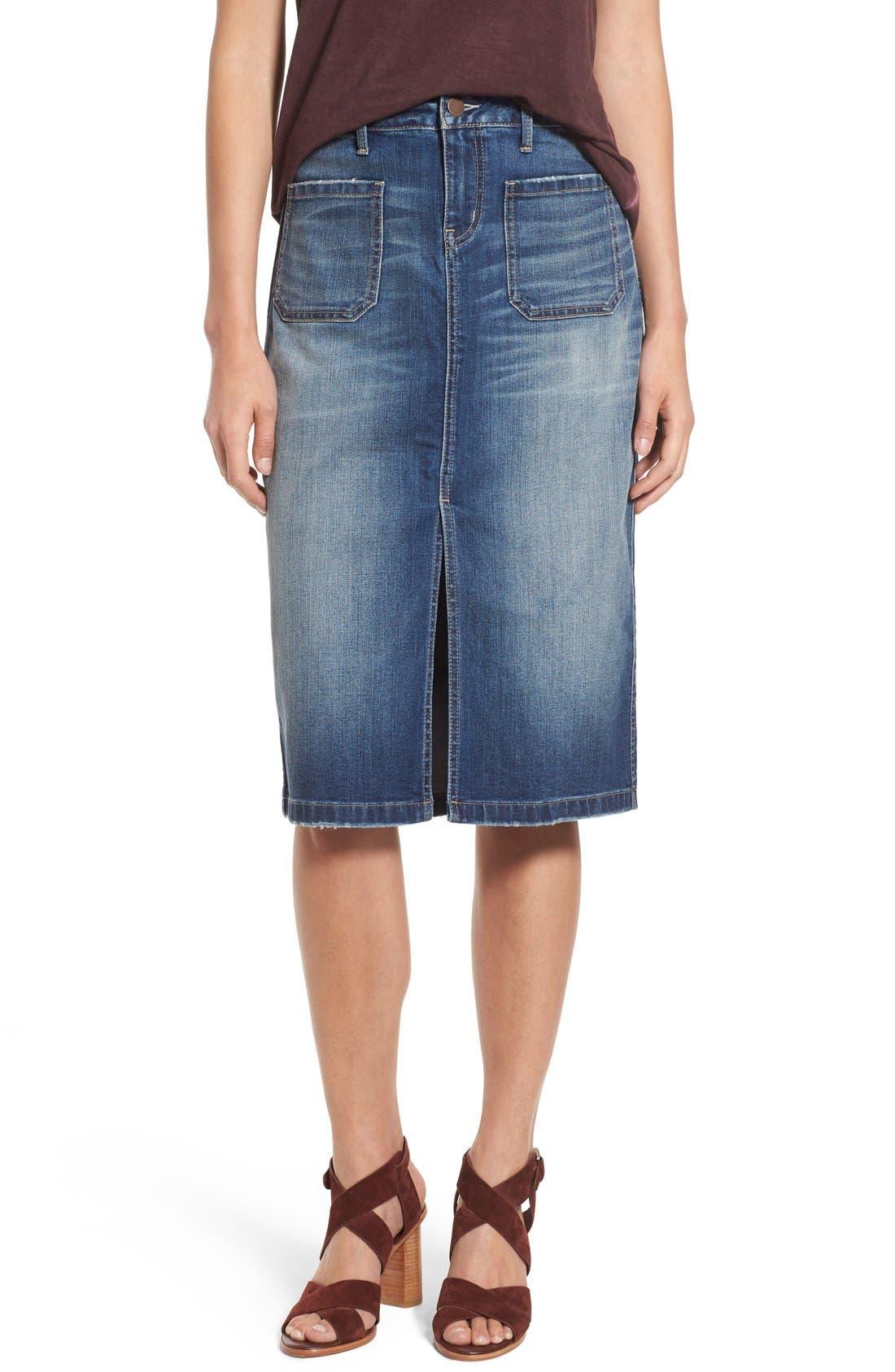 Main Image - Hinge Denim Pencil Skirt (Rain Dusk Vintage)