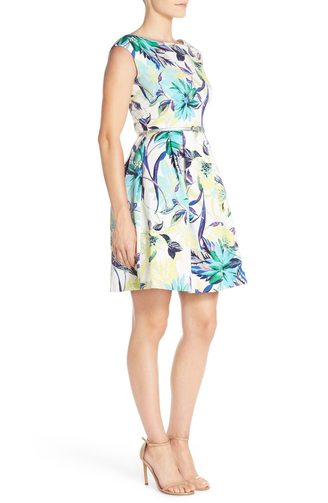 Alternate Image 3  - Eliza J Belted Faille Fit & Flare Dress