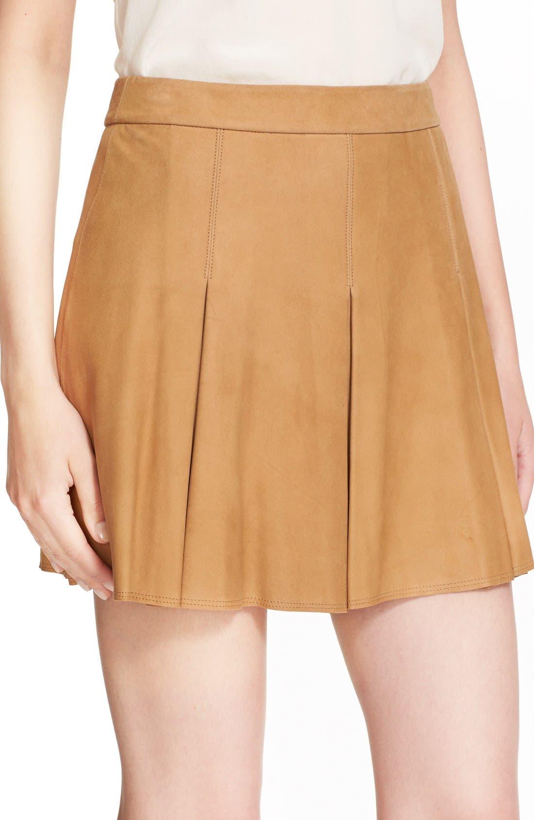Alternate Image 5  - Alice + Olivia 'Lee' Pleated Suede Skirt