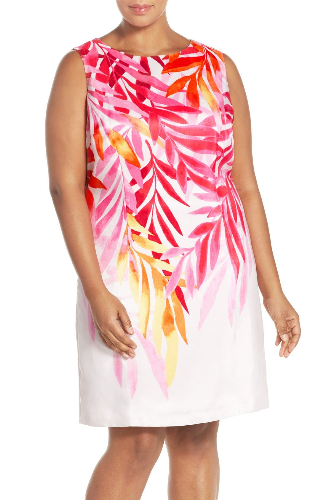 ELLEN TRACY Placed Print Sleeveless Sheath Dress